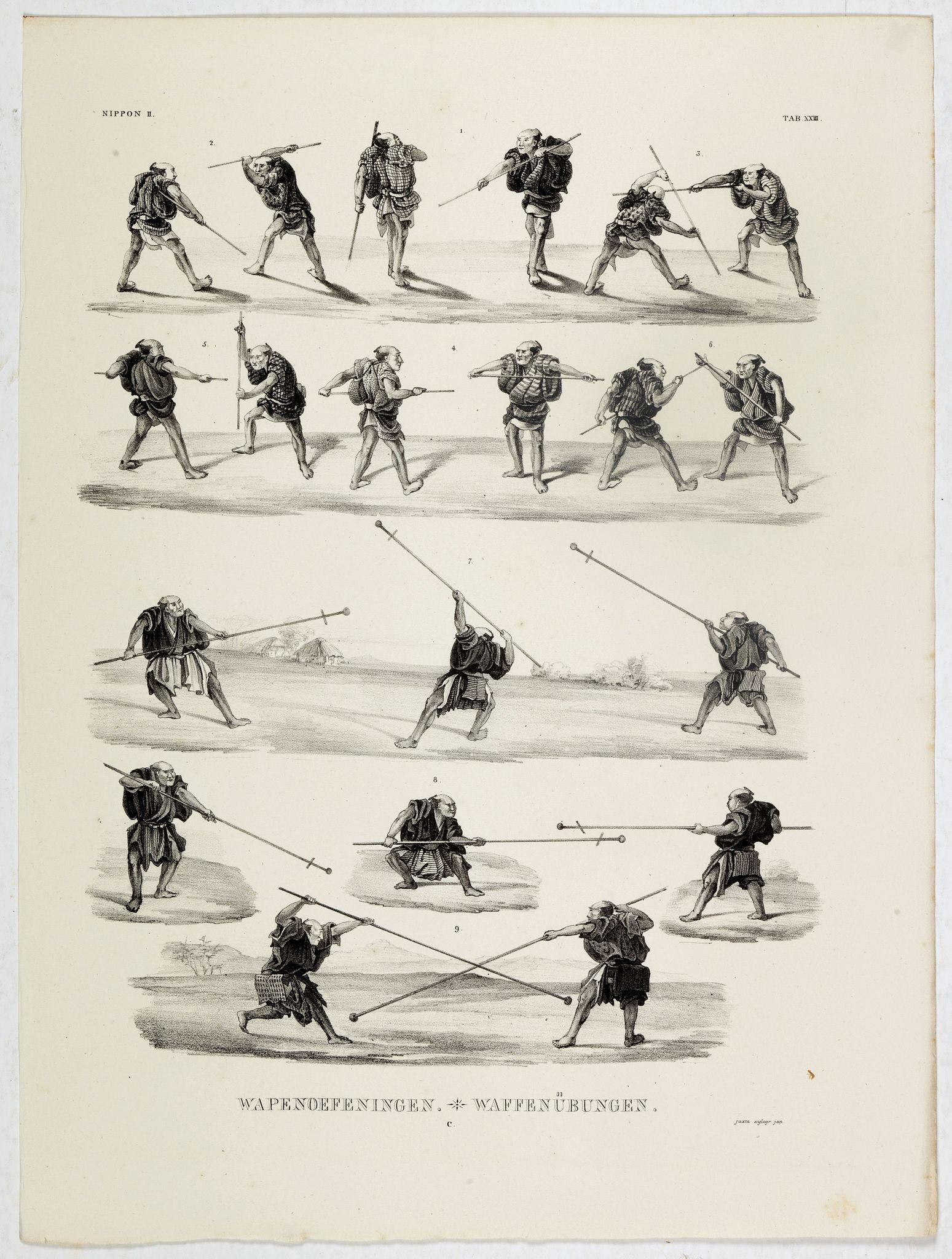 VON SIEBOLD, P.Fr.B. -  Wapenoefeningen - Tab XXIII. (Kendo training)