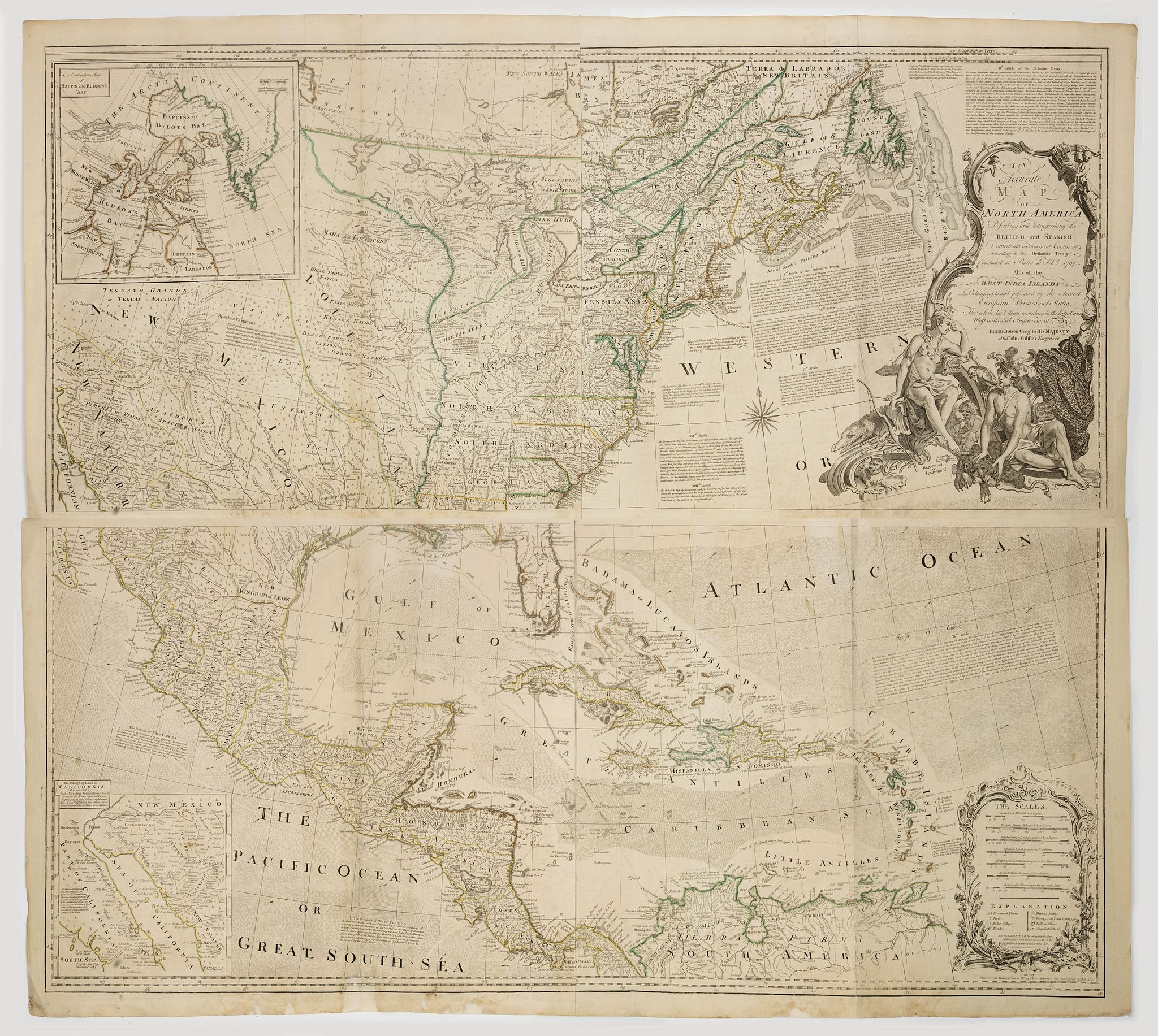BOWEN, E.,  An Accurate Map of North America. Describing and Distinguishing the British and Spanish Dominions on this Great Continent. According to the Definitive Treaty Concluded at Paris 10th Feb. 1763., antique map, old maps