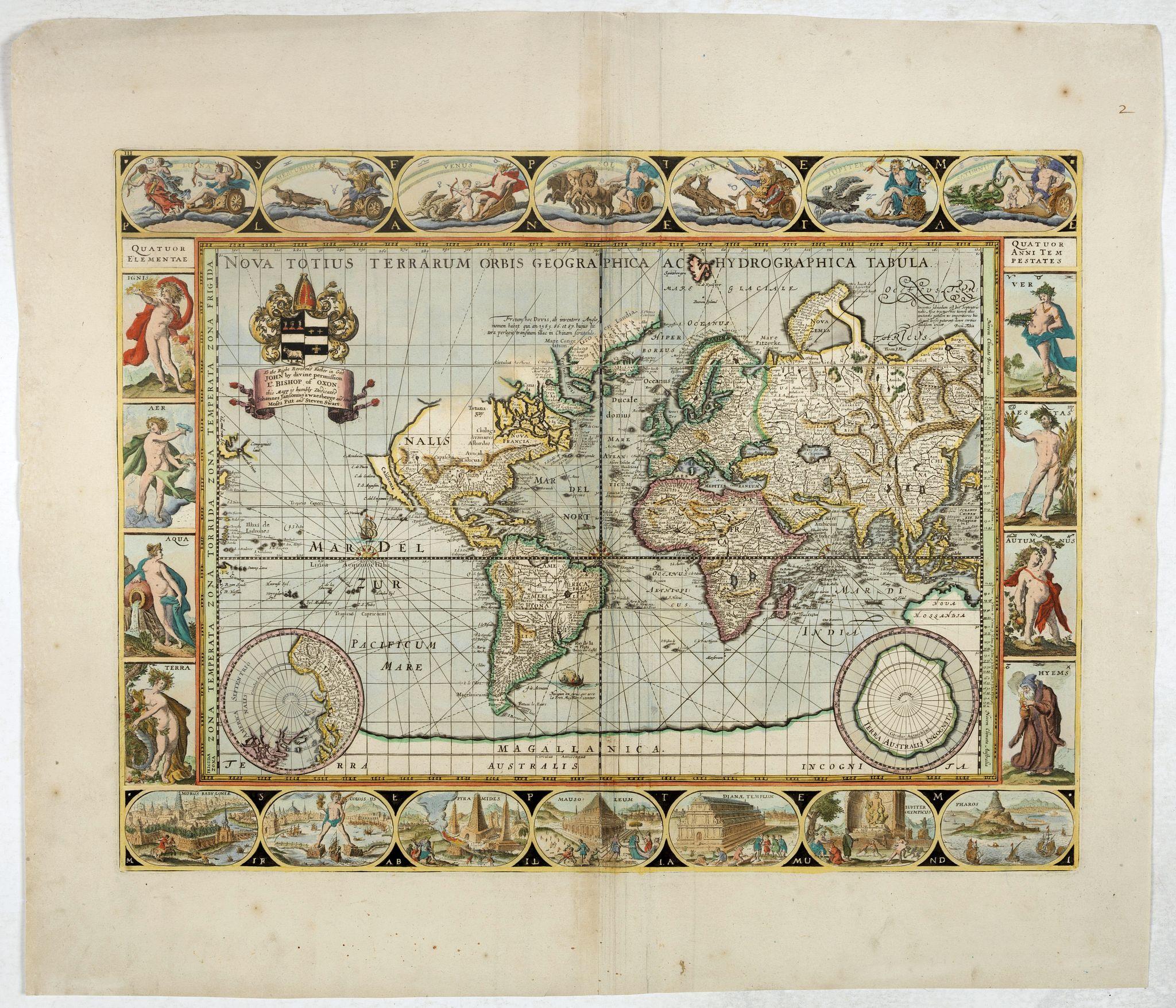 PITT, M. / SWART, S. / JANSSONIUS VAN WAESBERGHE,  -  Nova Totius Terrarum Orbis Geographica ac Hydrographica Tabula.