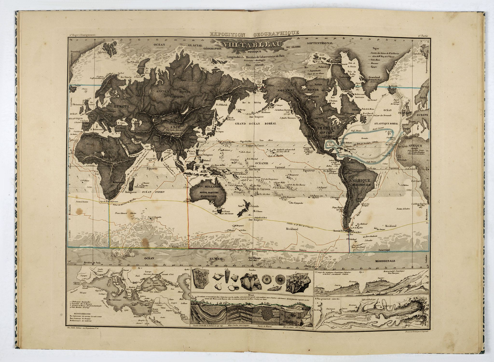 LEGRAND, A. -  Exposition géographique en XIV tableaux, composés et expliqués par A. Legrand... Deuxième degré d'enseignement . . .