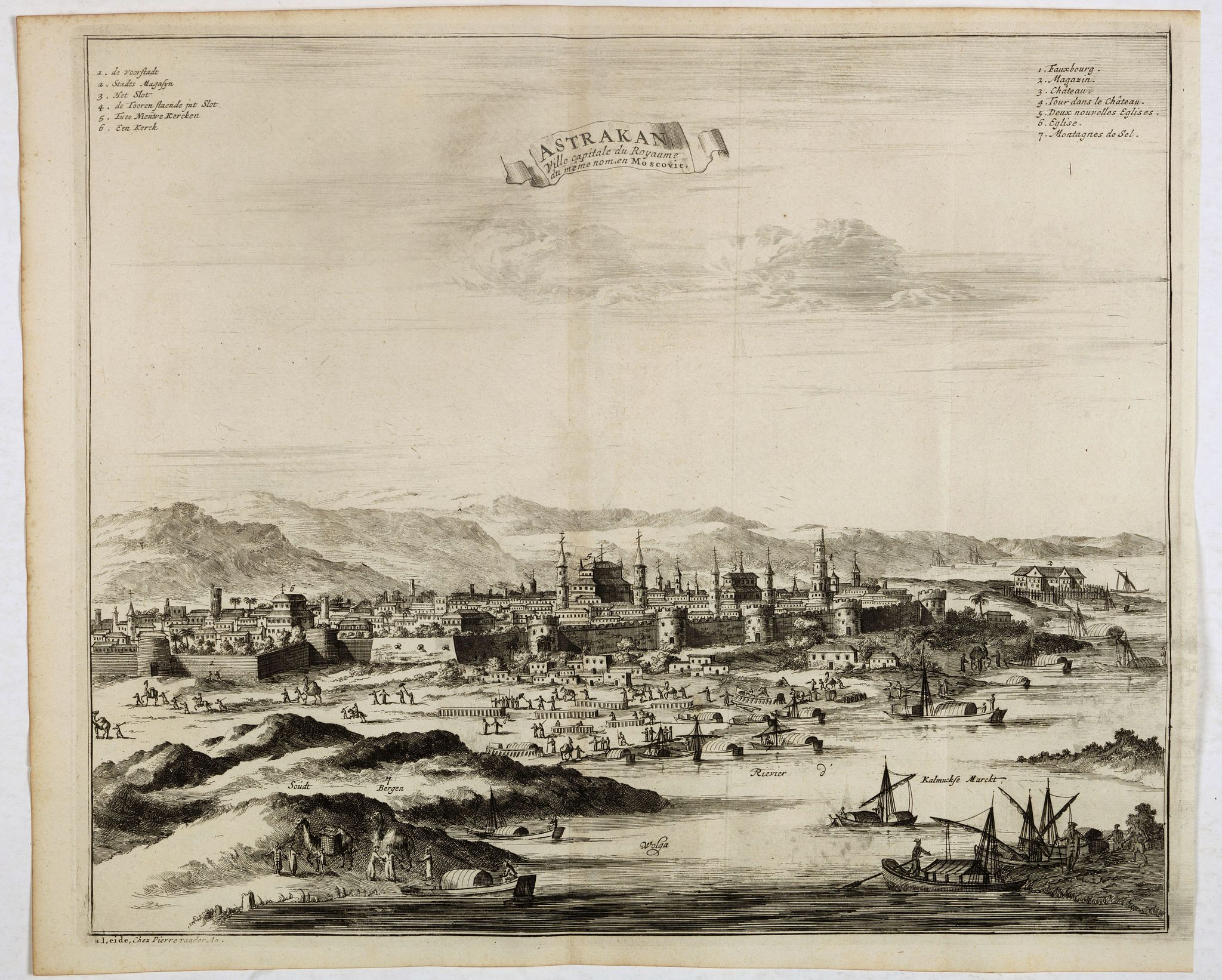 VAN DER AA, P. / OLEARIUS, A. -  Astrakan, ville capitale du royaume du meme nom, en Moscovie. (Astrakhan)