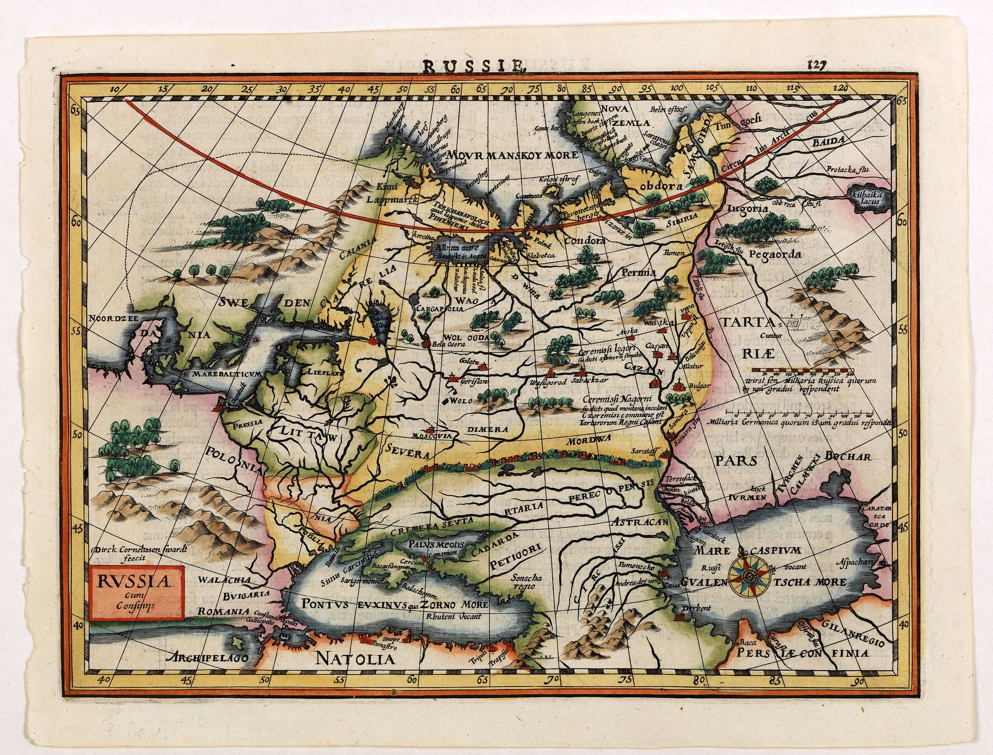 MERCATOR, G. / CLOPPENBURGH, J.E.,  Russia., antique map, old maps