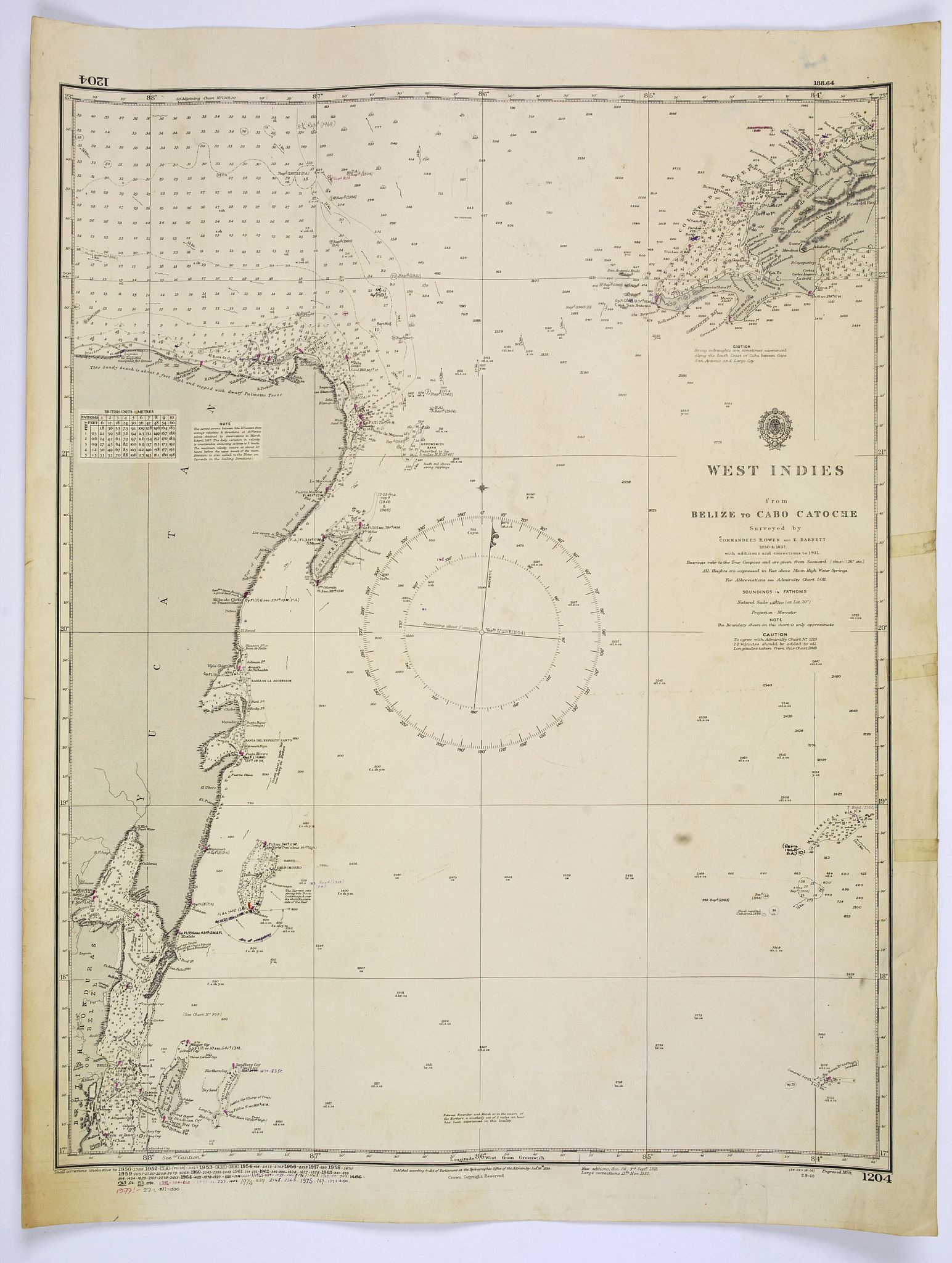 HYDROGRAPHIC OFFICE OF THE ADMIRALTY.,  West Indies [chart] from Belize to Cabo Catoche., antique map, old maps
