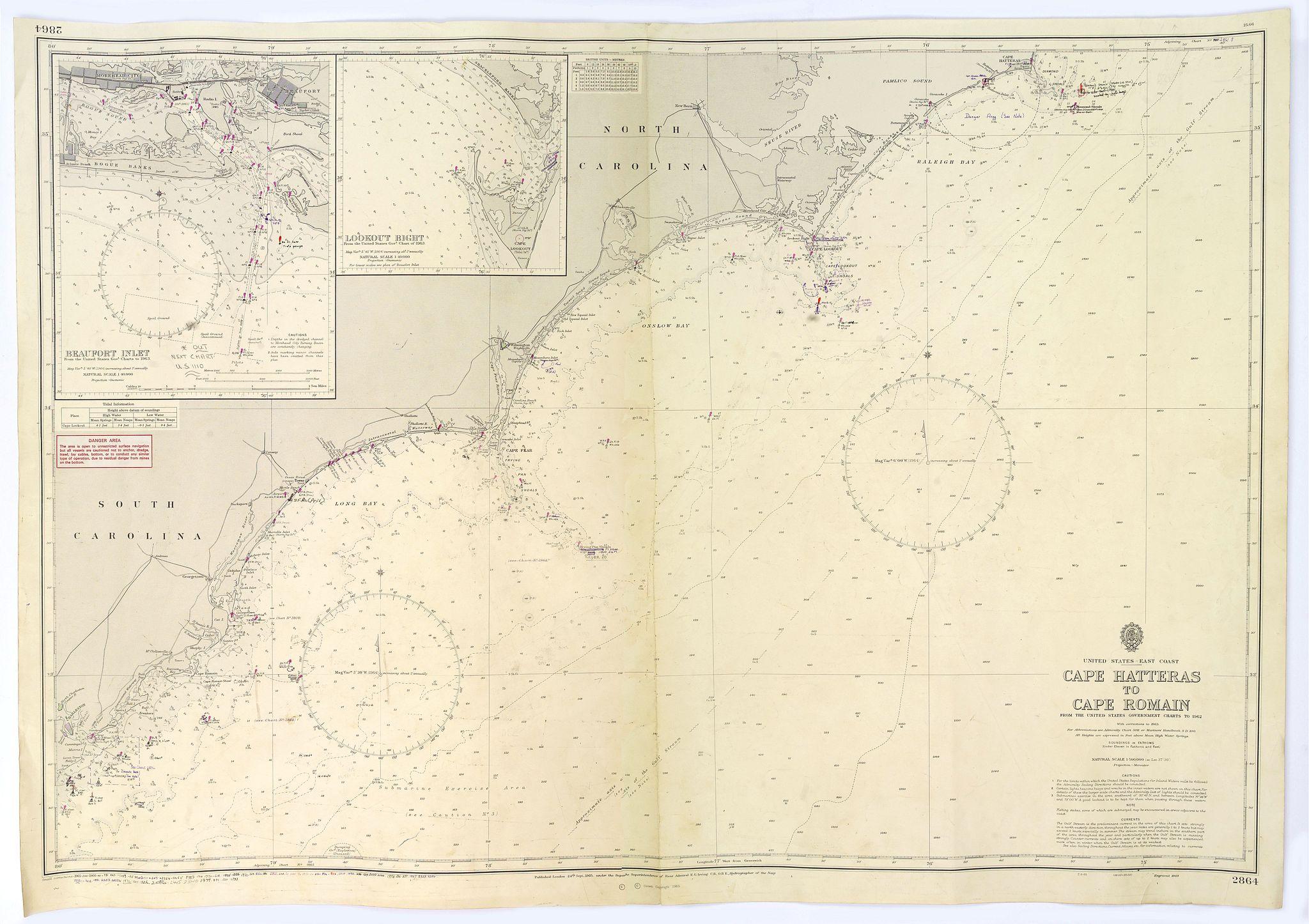 ADMIRALTY SEA CHART. -  Cape Hatteras to Cape Romain.