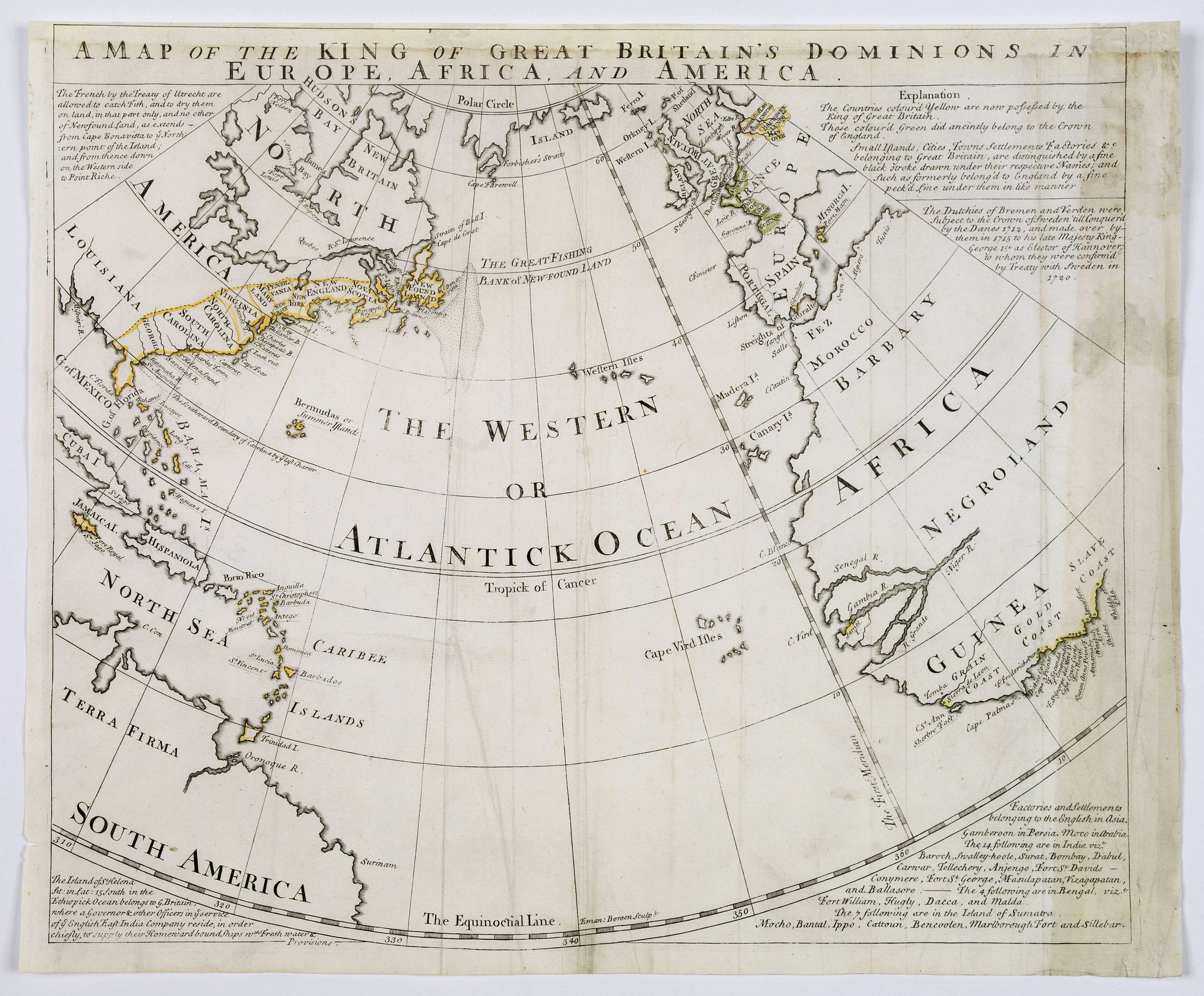 BOWEN, E.,  A Map of the King of Great Britain's Dominions in Europe, Africa, and America., antique map, old maps