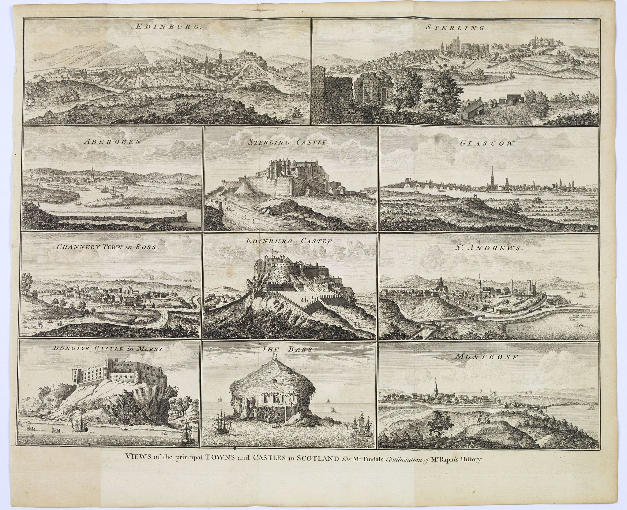 RAPIN / TINDAL.,  Views of the pricipal Towns and Castles in Scotland.., antique map, old maps
