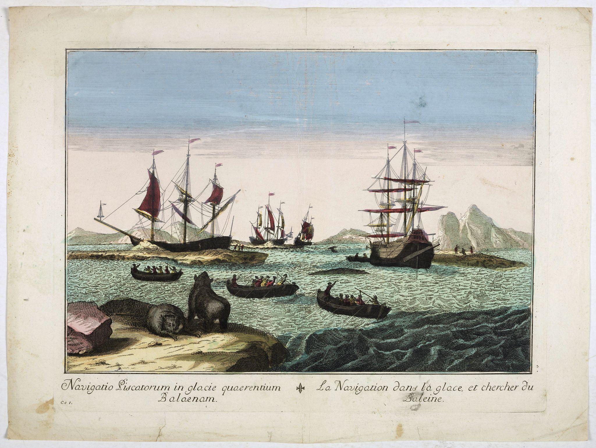 ANONYMOUS -  Navigatio Piscatorum in glacie quaerentium Balaenam / La navigation dans la glace, et chercher du Baleine.