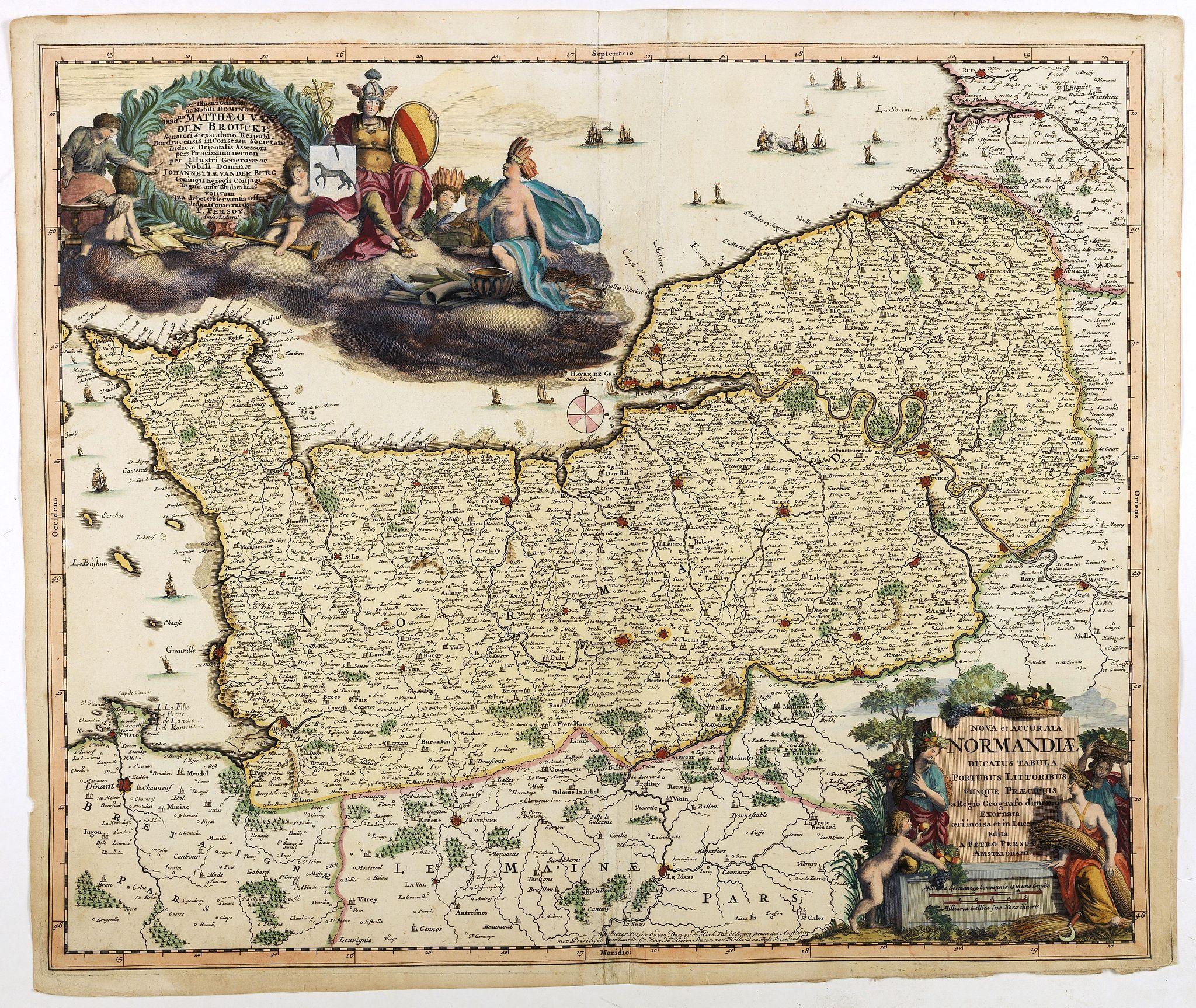 PERSOY, P. -  Nova et accurata Normandiae Ducatus Tabula . . .