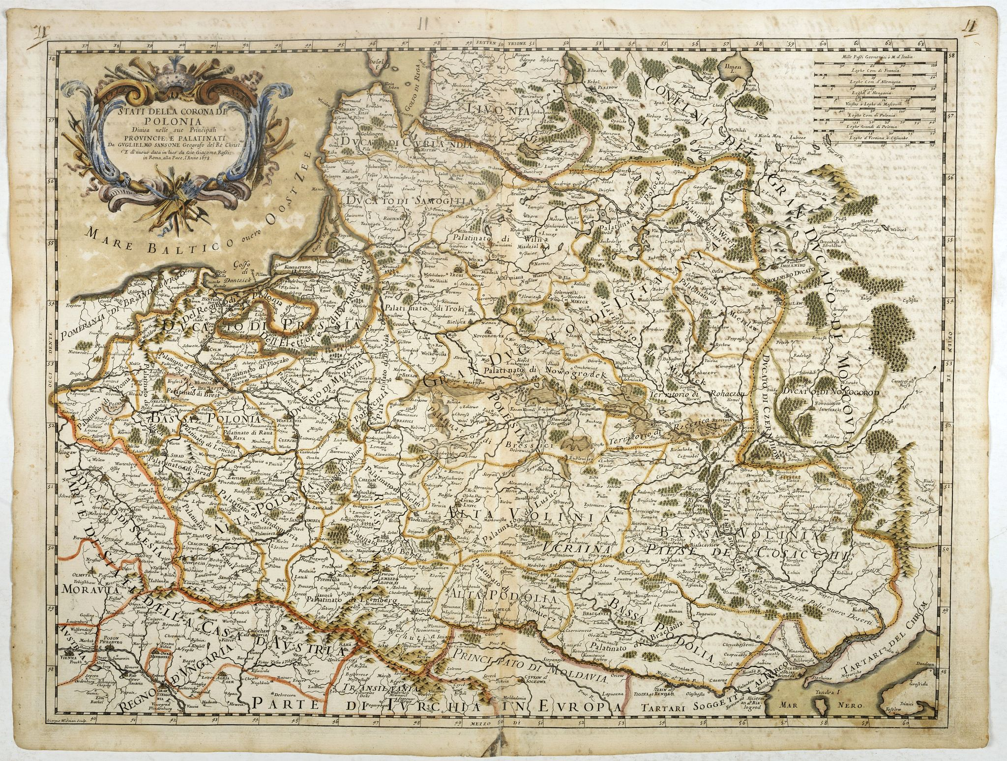 ROSSI,G. G. -  Stati della Corona di Polonia Divisa nella sue Principali Provincie e Palatinati da Guglielmo Sansone. . .