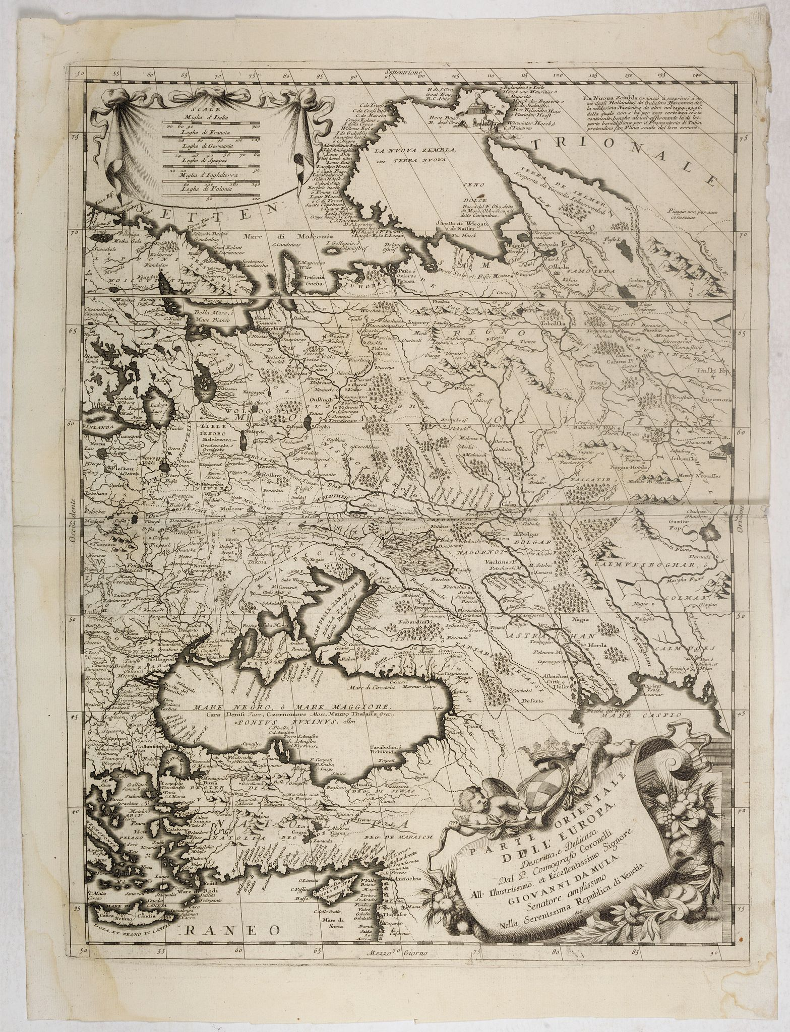 CORONELLI, V. -  Parte orientale dell' Europa . . . [Eastern part of Europe with Russia and map of Iceland on verso]