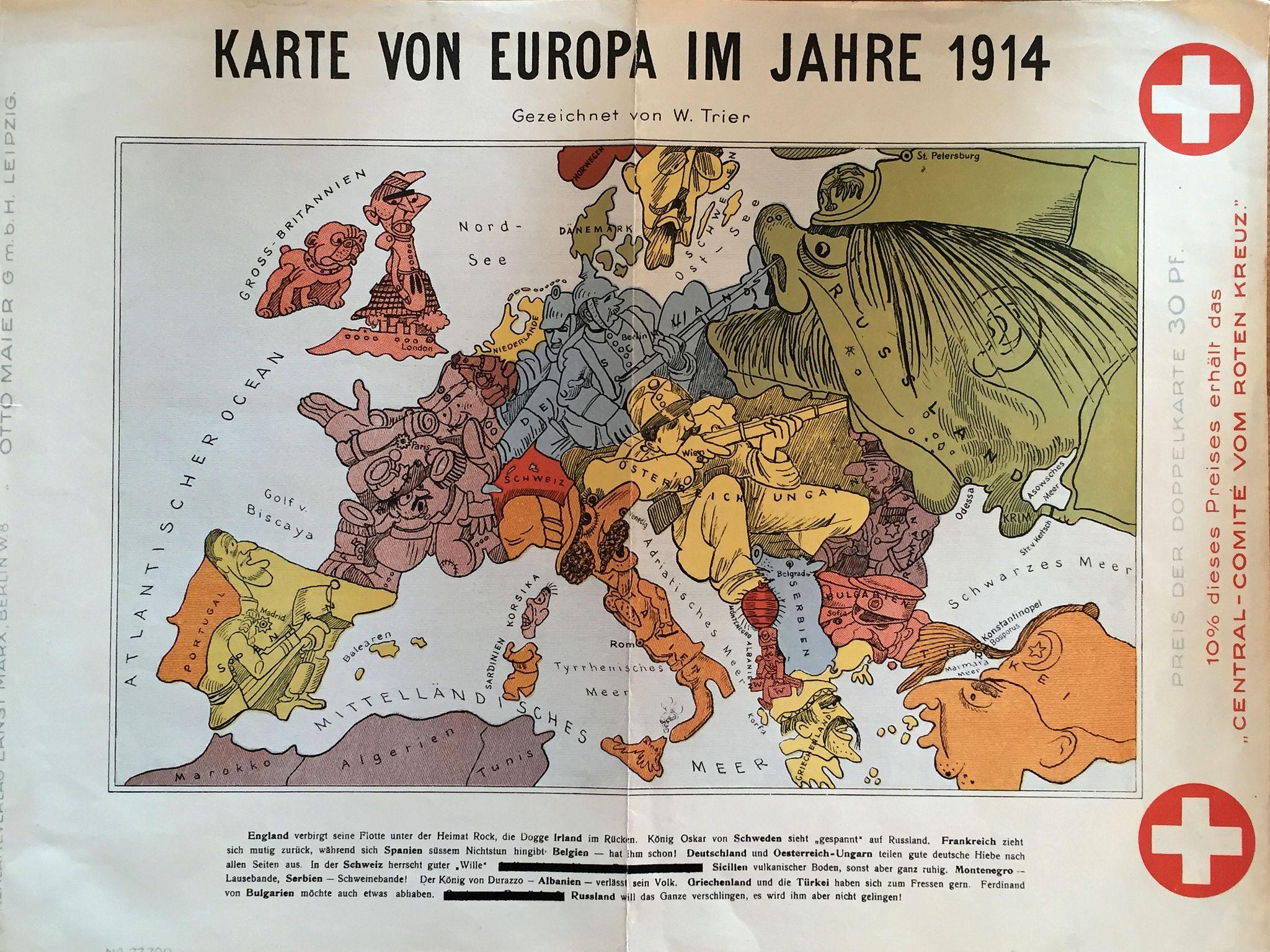 Trier Karte Von Europa Im Jahre 1914