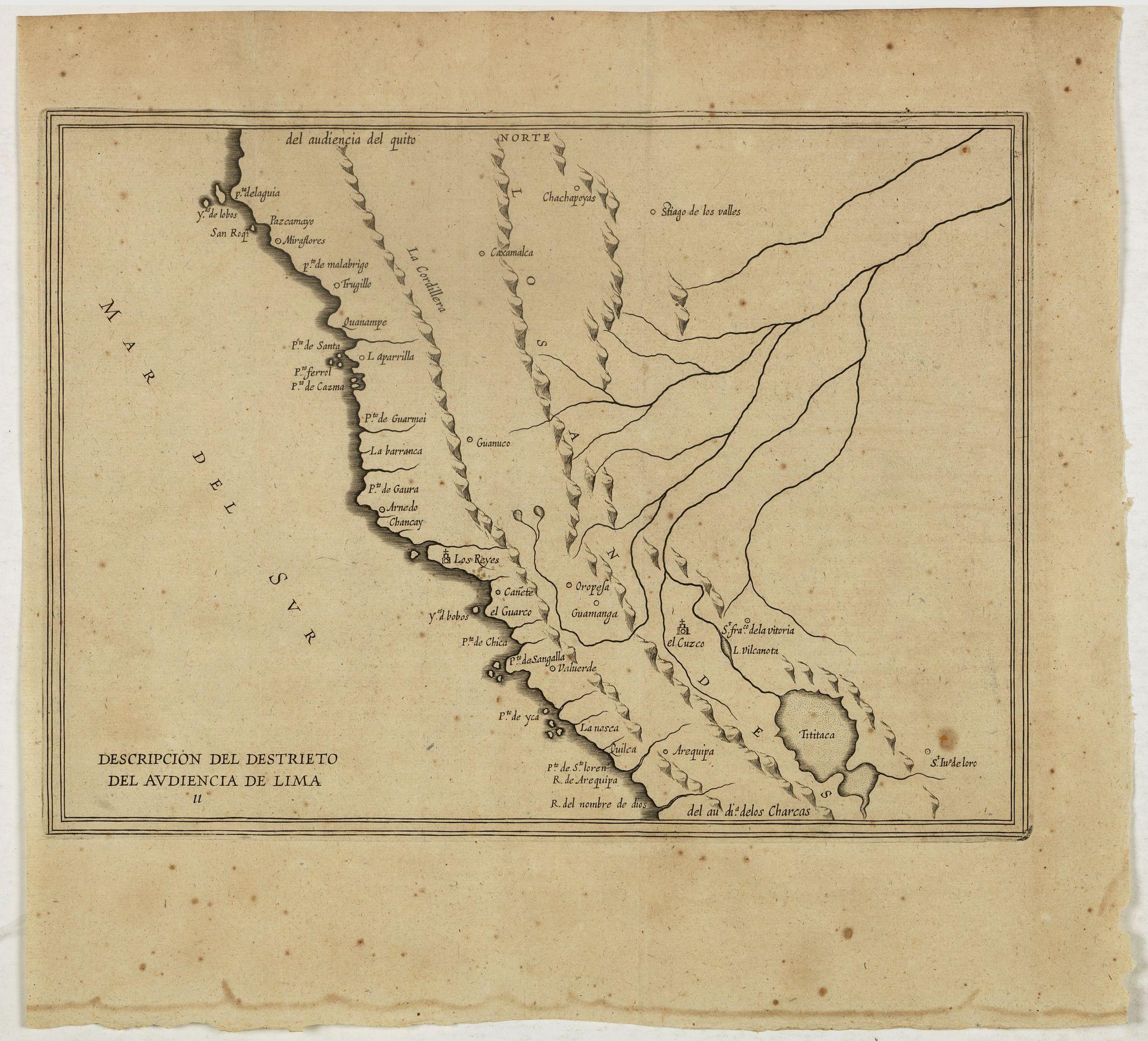 HERRERA y TORDESILLAS, A. de. -  Descripcion Del Destrieto Del Audiencia De Lima. (Peru, and parts of Colombia, and Brazil)