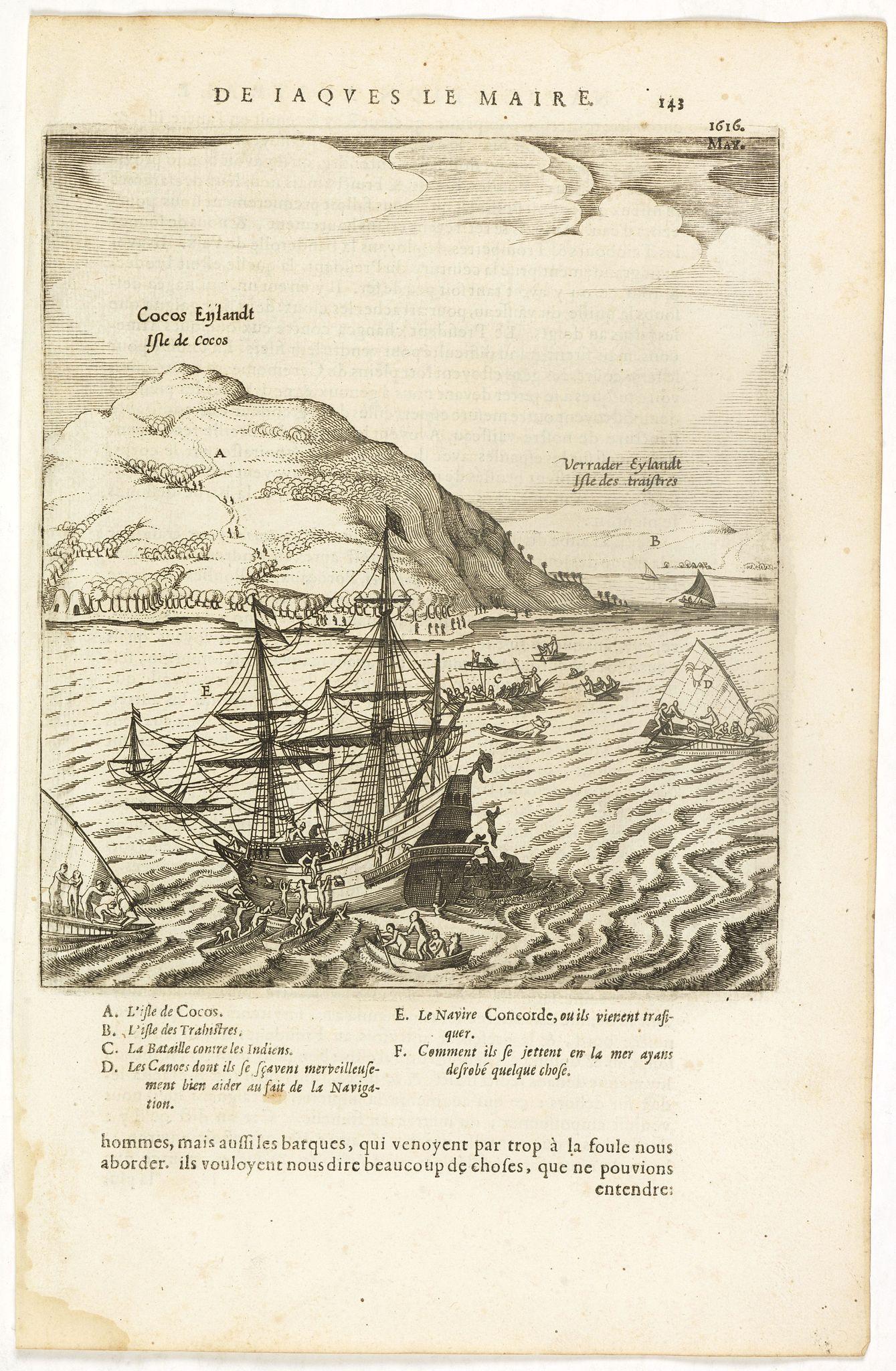HERRERA y TORDESILLAS, A. de -  Cocos Eijlandt Isle de Cocos.