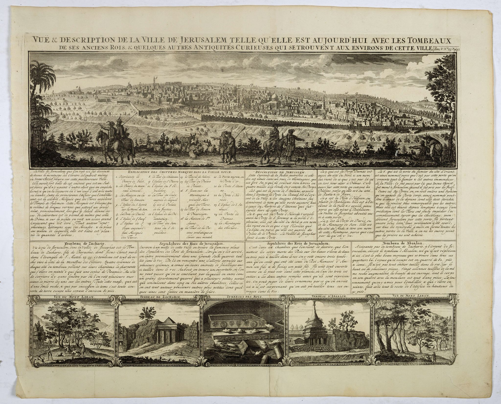 CHATELAIN,H. -  Vue & discription de la Ville de Jerusalem..avec Tombeaux..