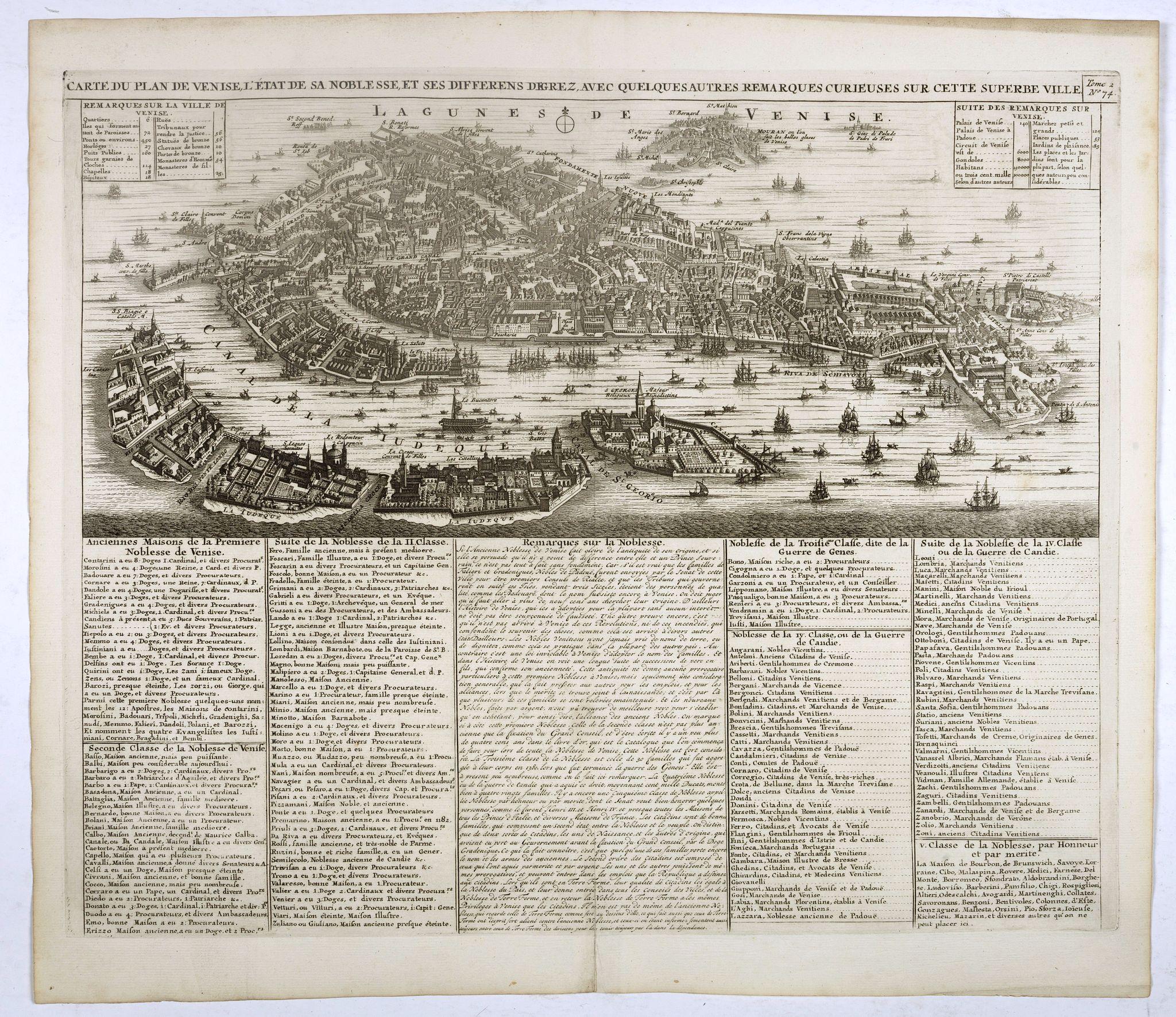 CHATELAIN, H. -  Carte du plan de Venise, l'état de sa noblesse, et ses differens degrez a ec quelques autres remarques curieuses sur cette superbe ville. Tome 2 N° 4.