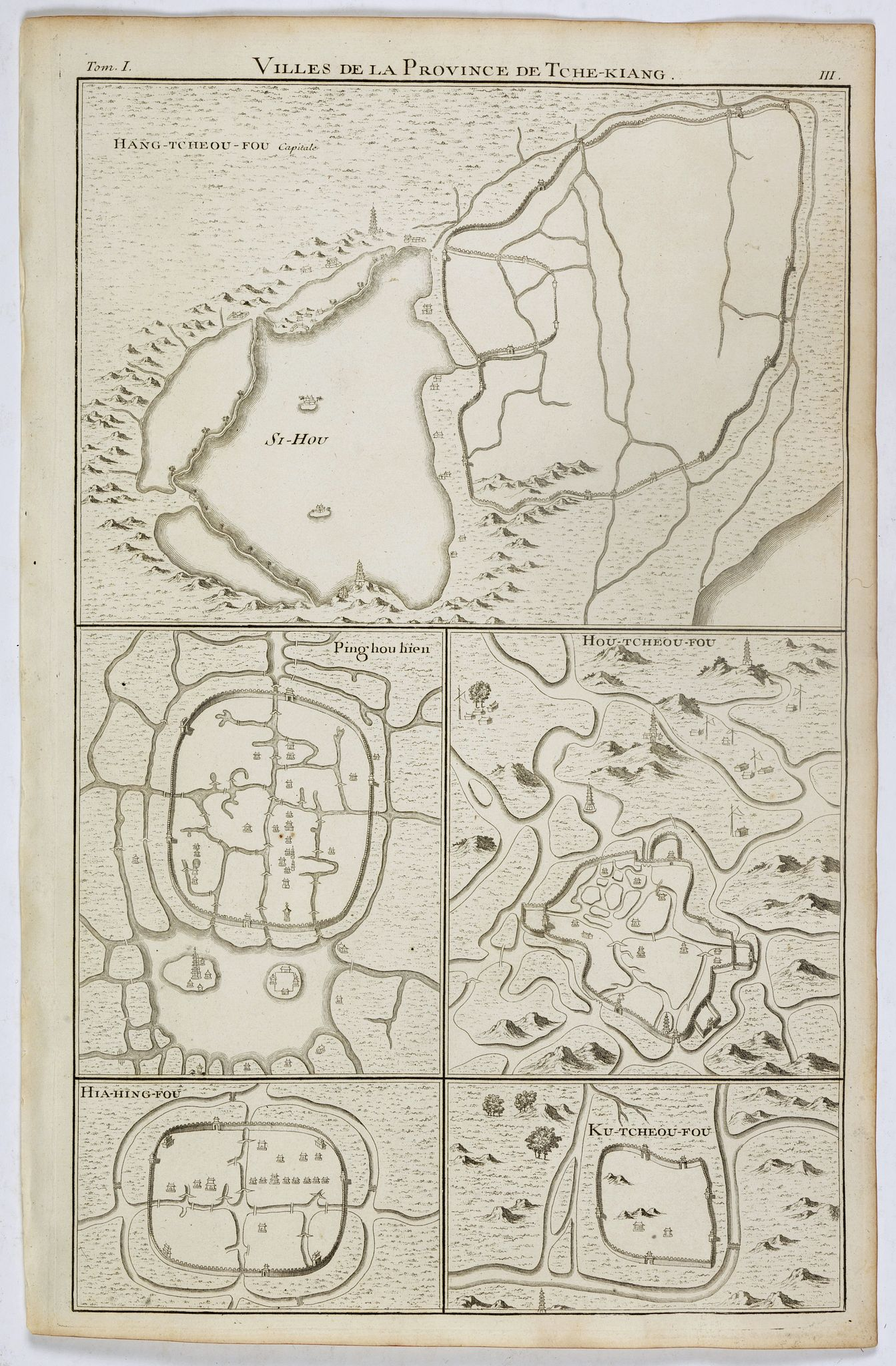 ANVILLE, J.B.D' / DU HALDE, P. -  Villes de la province de Tche-kiang. (Hang-tcheou-fou, Ping hou hien, Hou-tcheou-fou, Hia-hing-fou and Ku-tcheou-fou.)