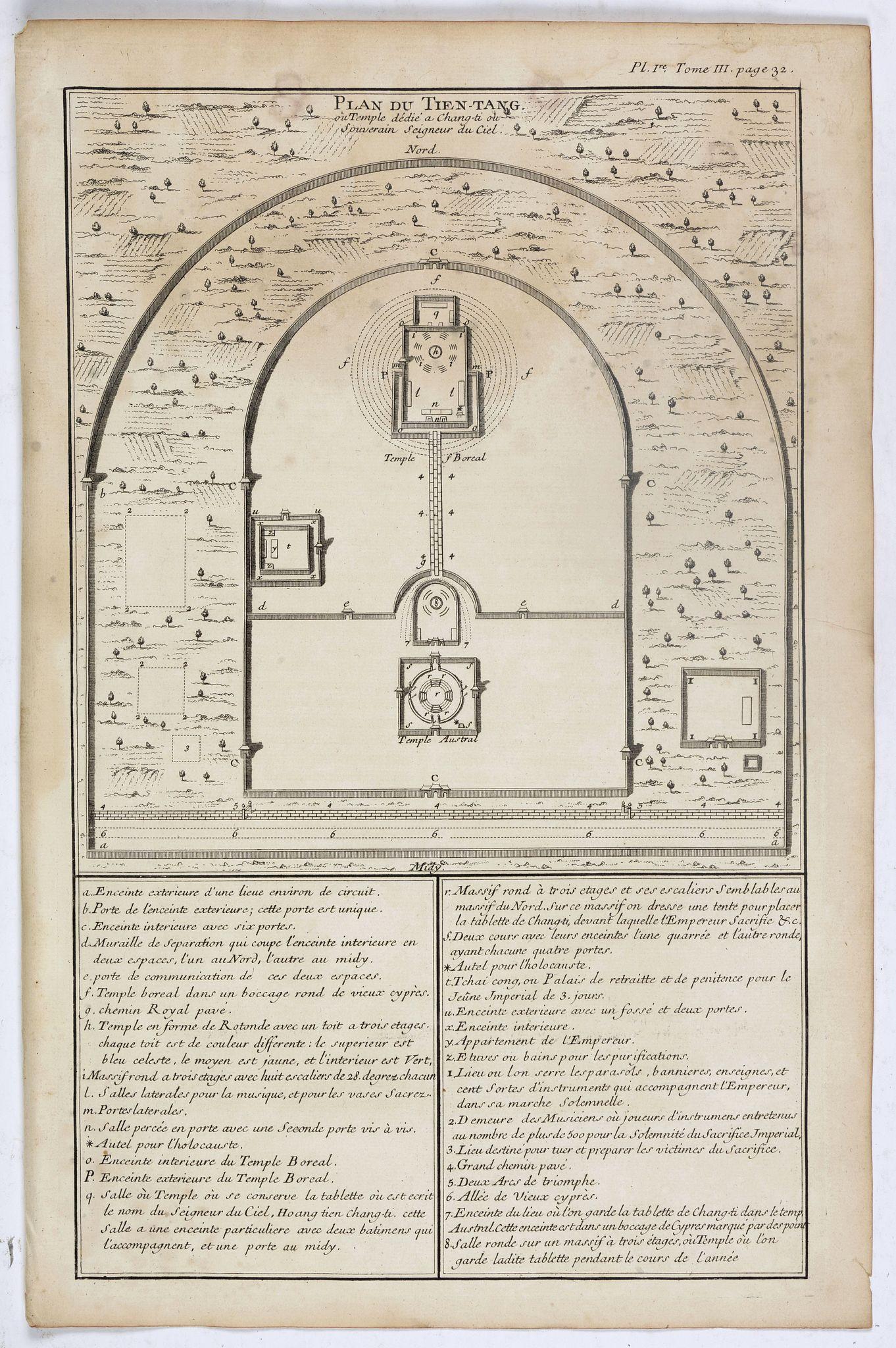 ANVILLE, J.B.D' -  Plan du Tien-tang ou du temple, où l'empereur sacrifie à Chang-ti sous le titre de souverain seigneur de la terre.