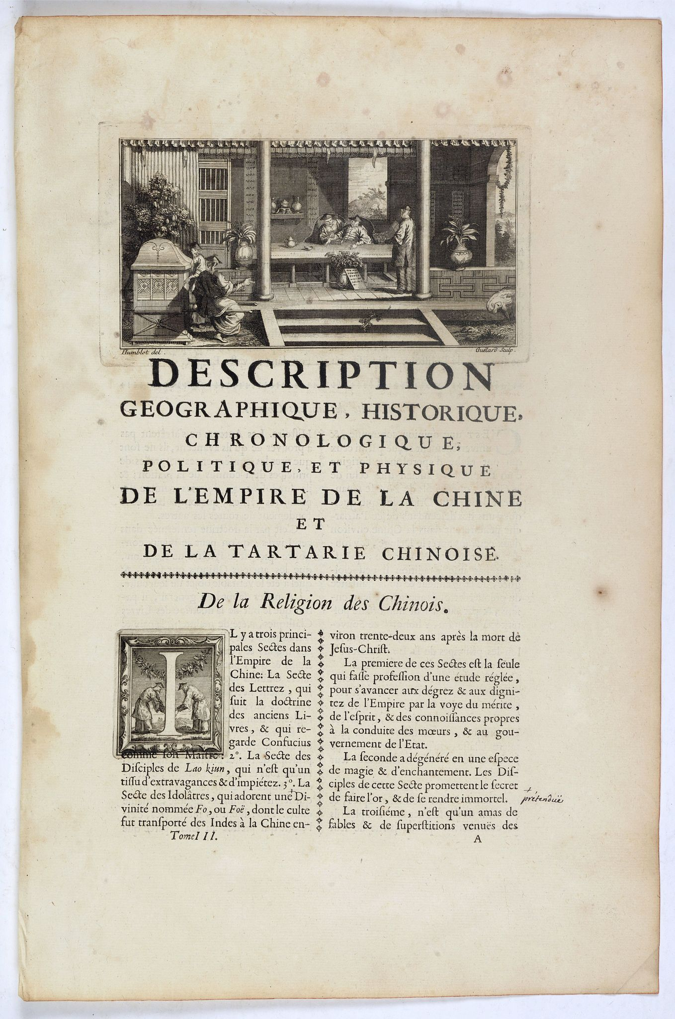 ANVILLE, J.B.D' -  Description geographique, historique, chronologique, politique et physique de l'Empire de chine et de la Tartarie / De la Religion des Chinois.