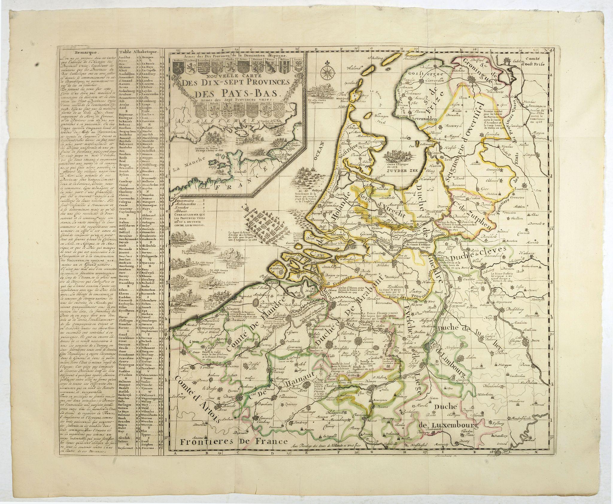 CHATELAIN, H. -  Nouvelle Carte des dix-sept Provinces des Pays-Bas.