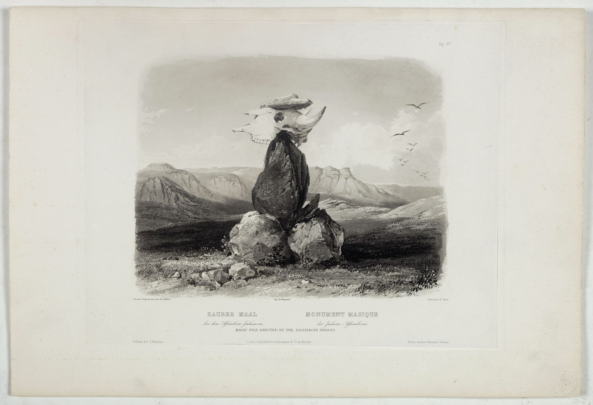 BODMER, Karl. -  Magic Pile erected by the Assiniboin Indians.