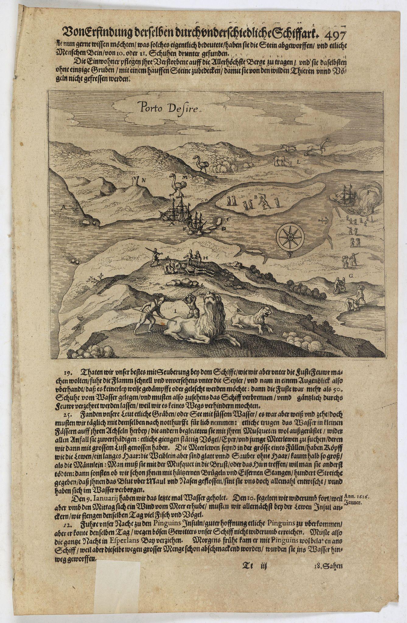 GOTTFRIED, J.L. -  Description de nouveau pasage vers le zud…. together with an untitled map of Port Desire (today's Puerto Deseado, Argentina)
