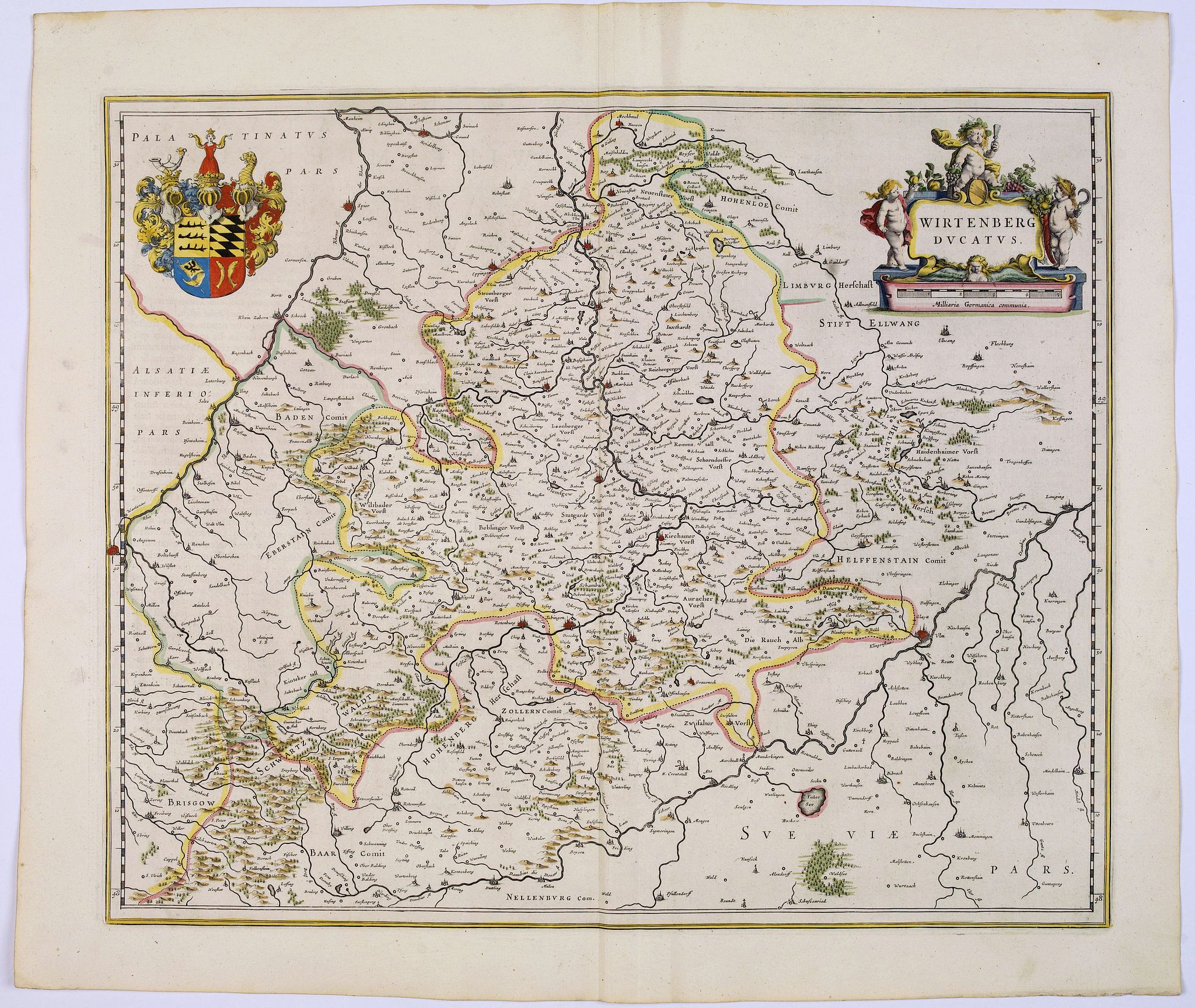 BLAEU, J.,  Wirtenberg Ducatus., antique map, old maps