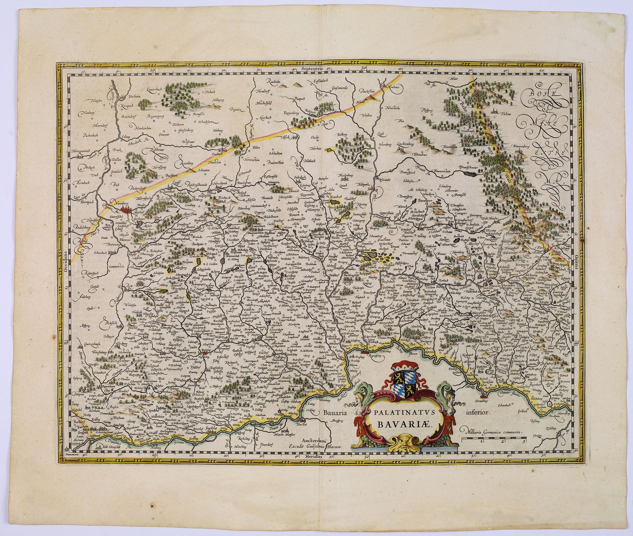 BLAEU, J.,  Palatinatus Bavariae., antique map, old maps