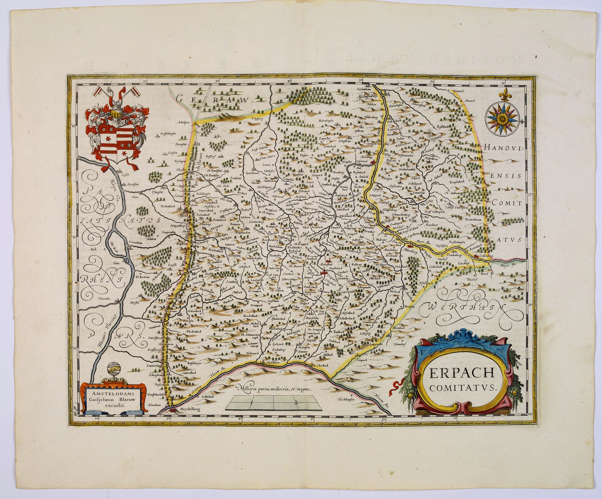 BLAEU, J.,  Erpach Comitatus., antique map, old maps