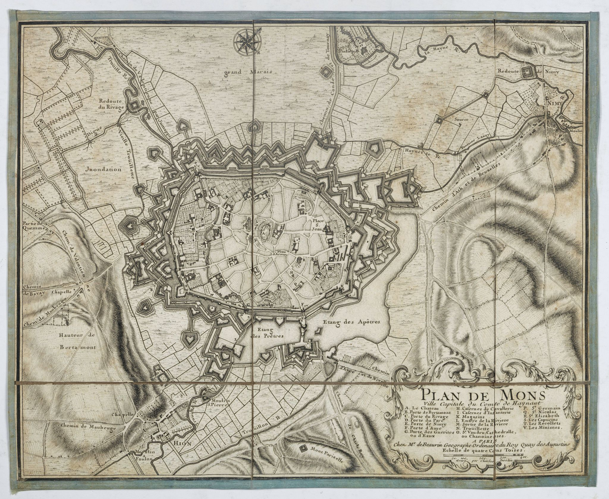 BEAURAIN (Jean de) -  Plan de Mons ville capitale du comté de Haynaut. [MONS]