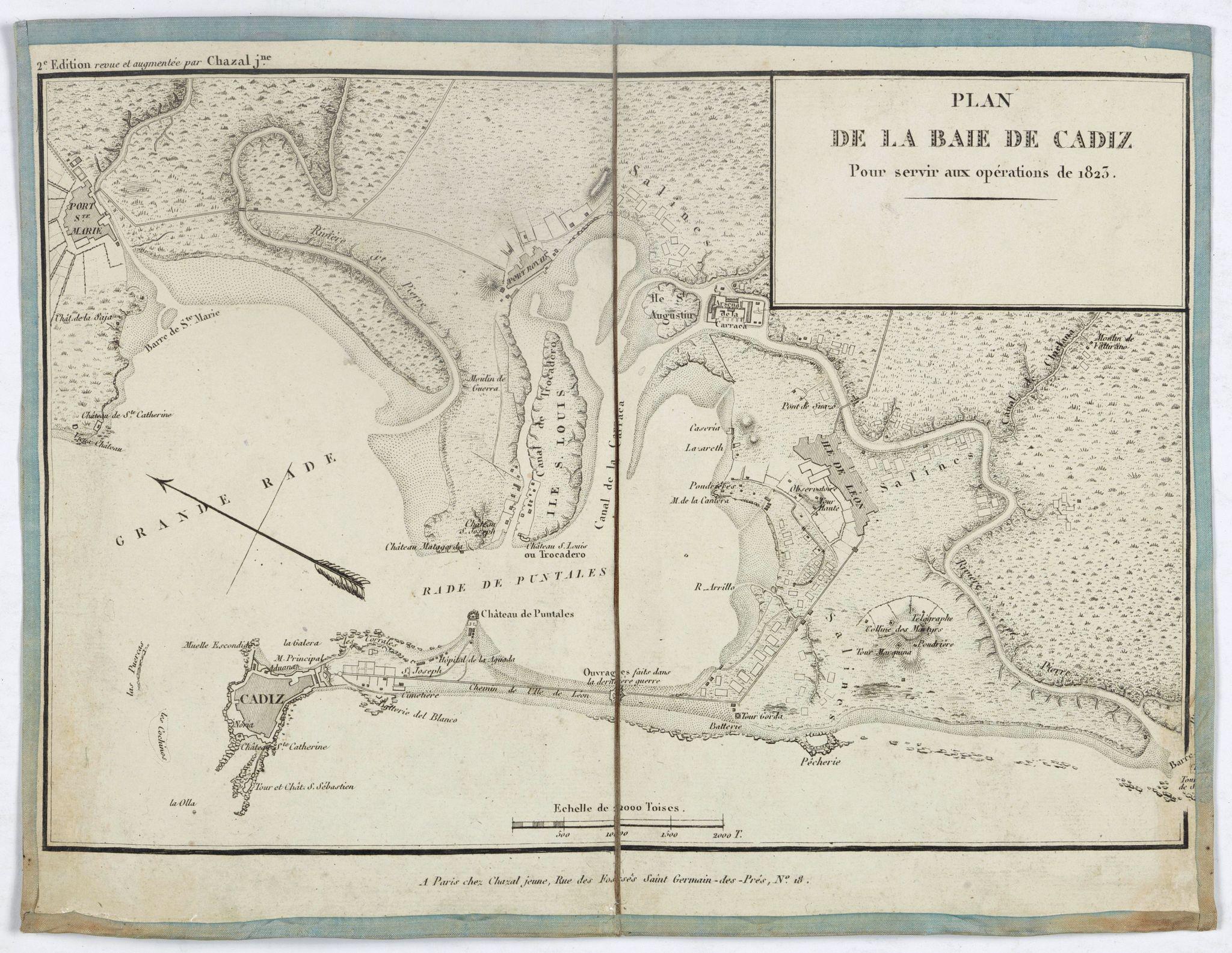 CHAZAL Jr. -  Plan de la baie de Cadiz pour servir aux opérations de 1823.