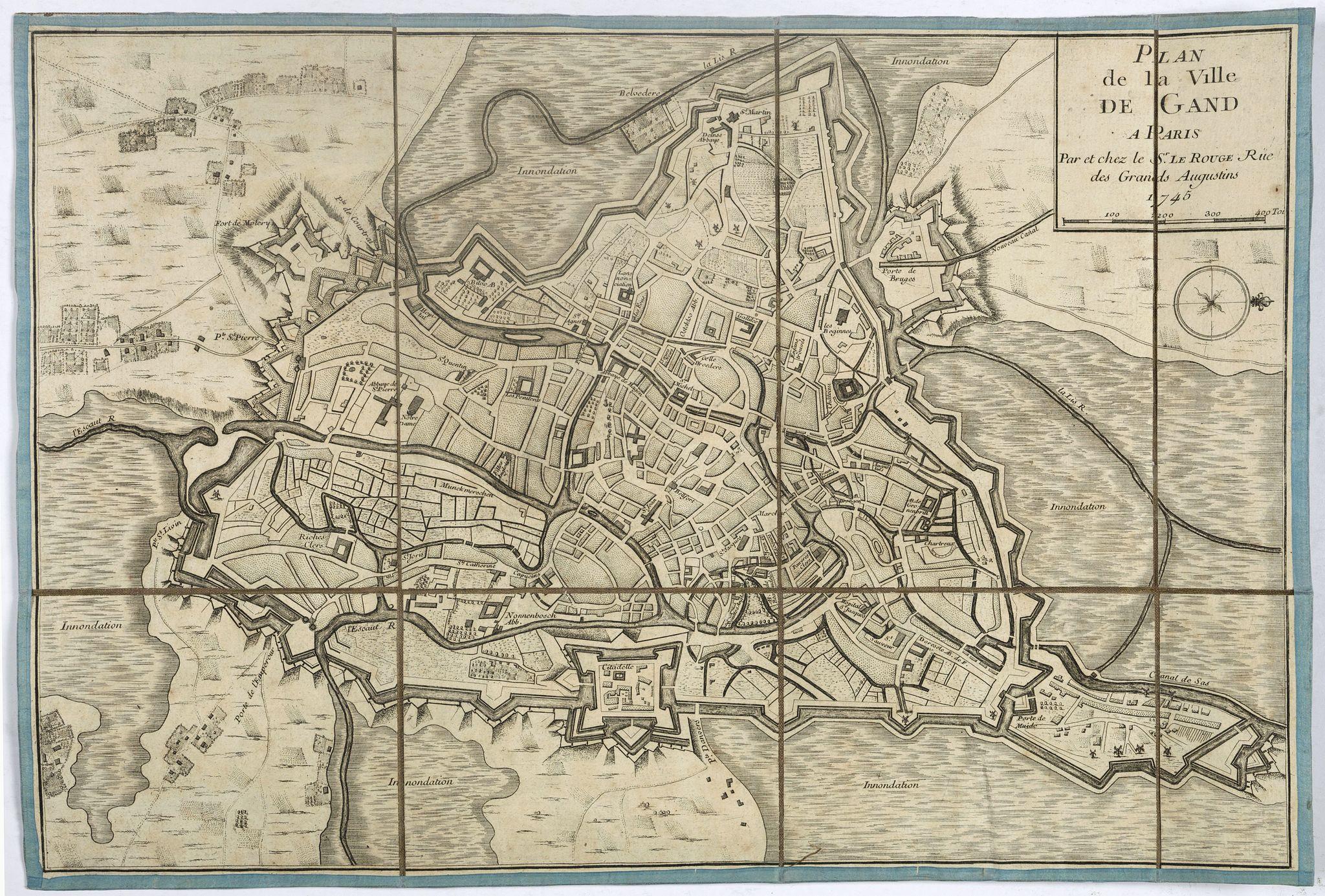 LE ROUGE, G-L. -  Plan de la ville de Gand. Paris, Sr. Le Rouge, 1745.
