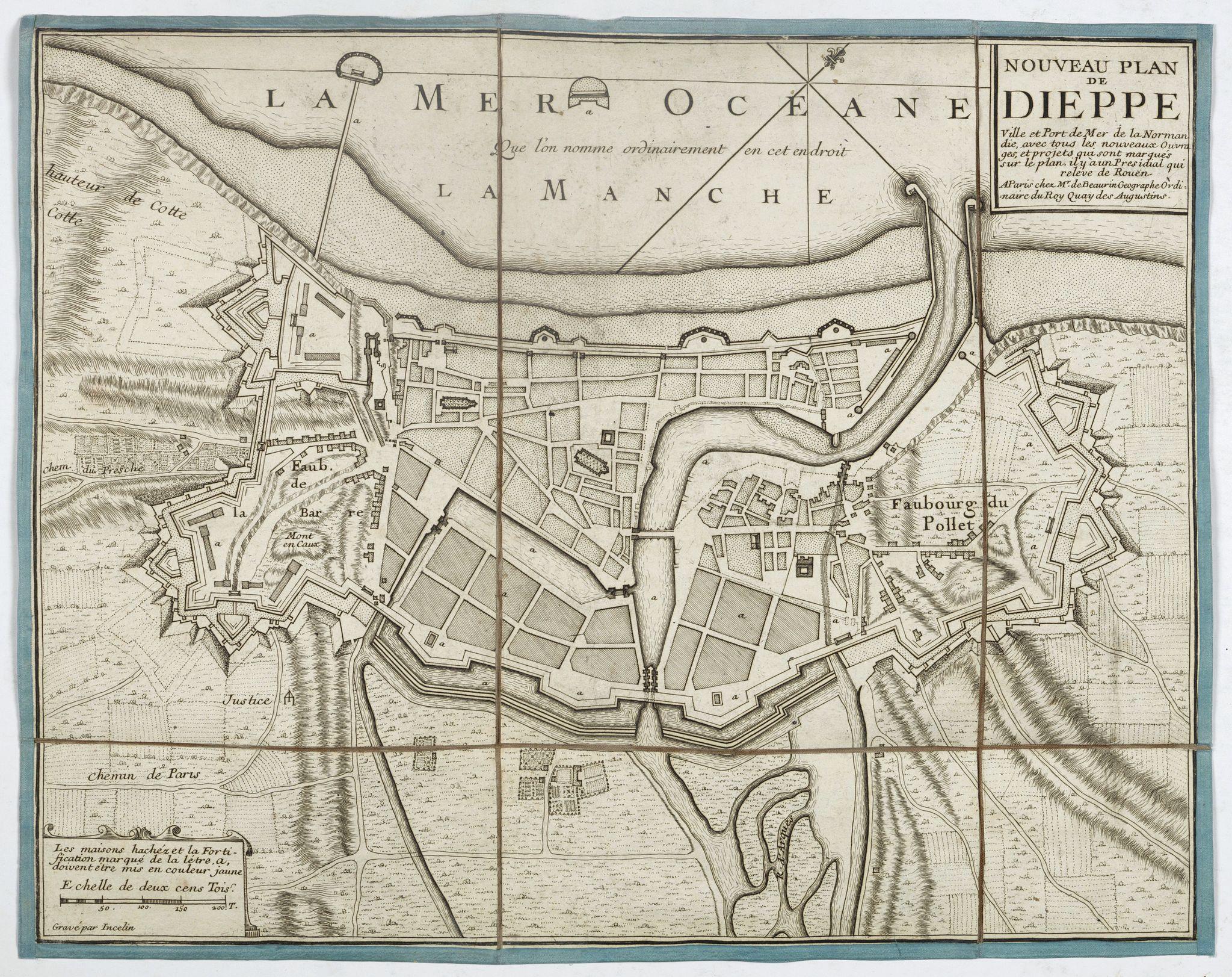 DE BEAURAIN, J -  Nouveau plan de Dieppe, ville et port de mer de la Normandie.