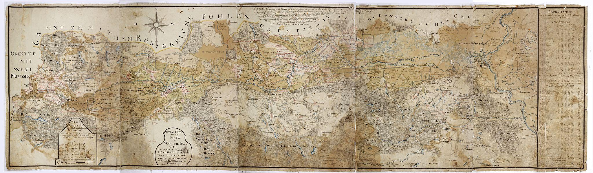 ANONYMOUS - Special Carte von dem Netz und Warthe Bruche nebst daran gränzenden Landsbergschen gantzen, wie auch einem theile des Friedeberg und Königsbergschen Creises.