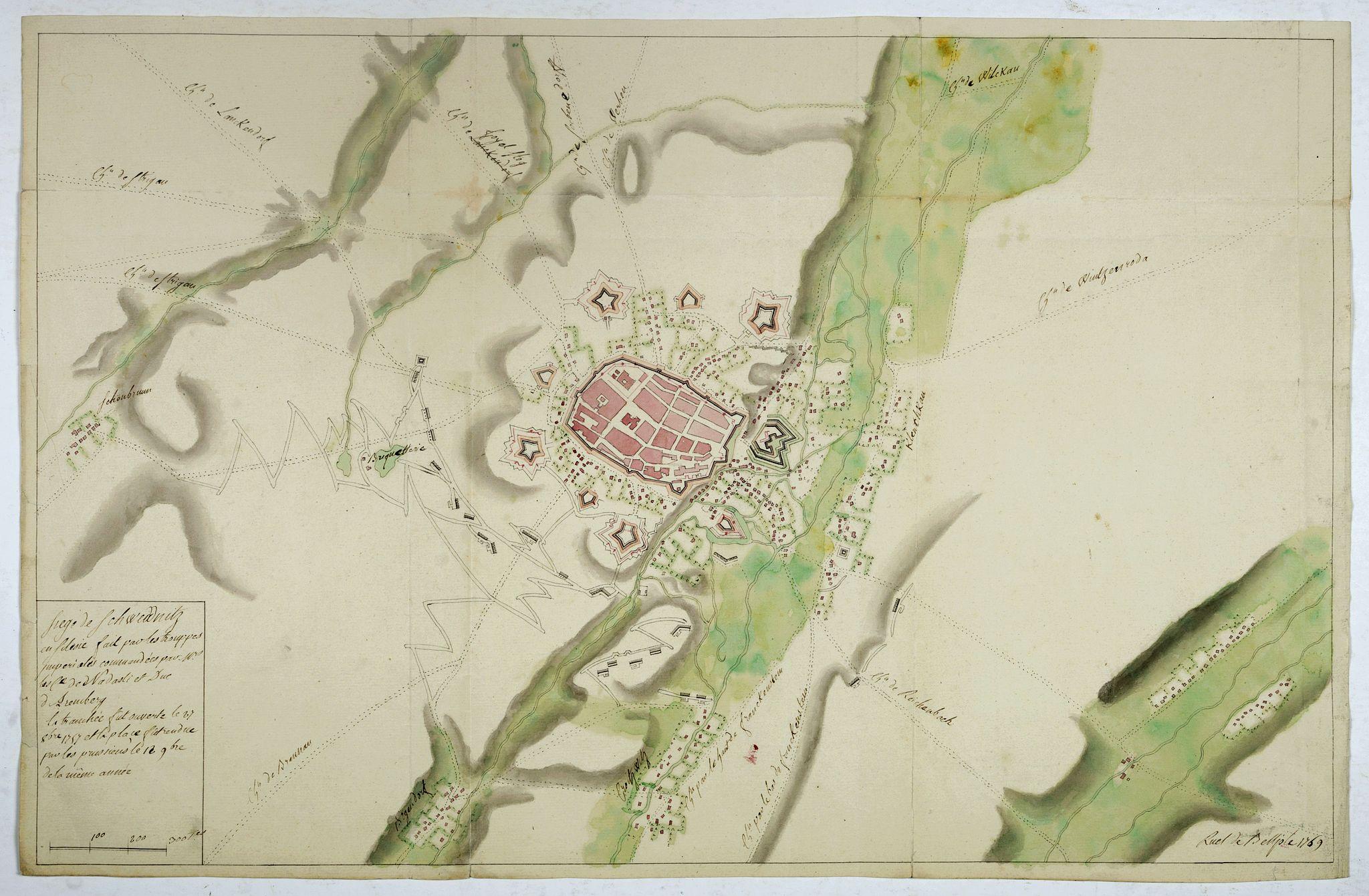 RUEL de BELLISLE, N.Th. -  [manuscript plan]  Siège de Schweidnitz en Silésie fait par les trouppes Imperial es commandées par Mr.  le de Nadasti ...
