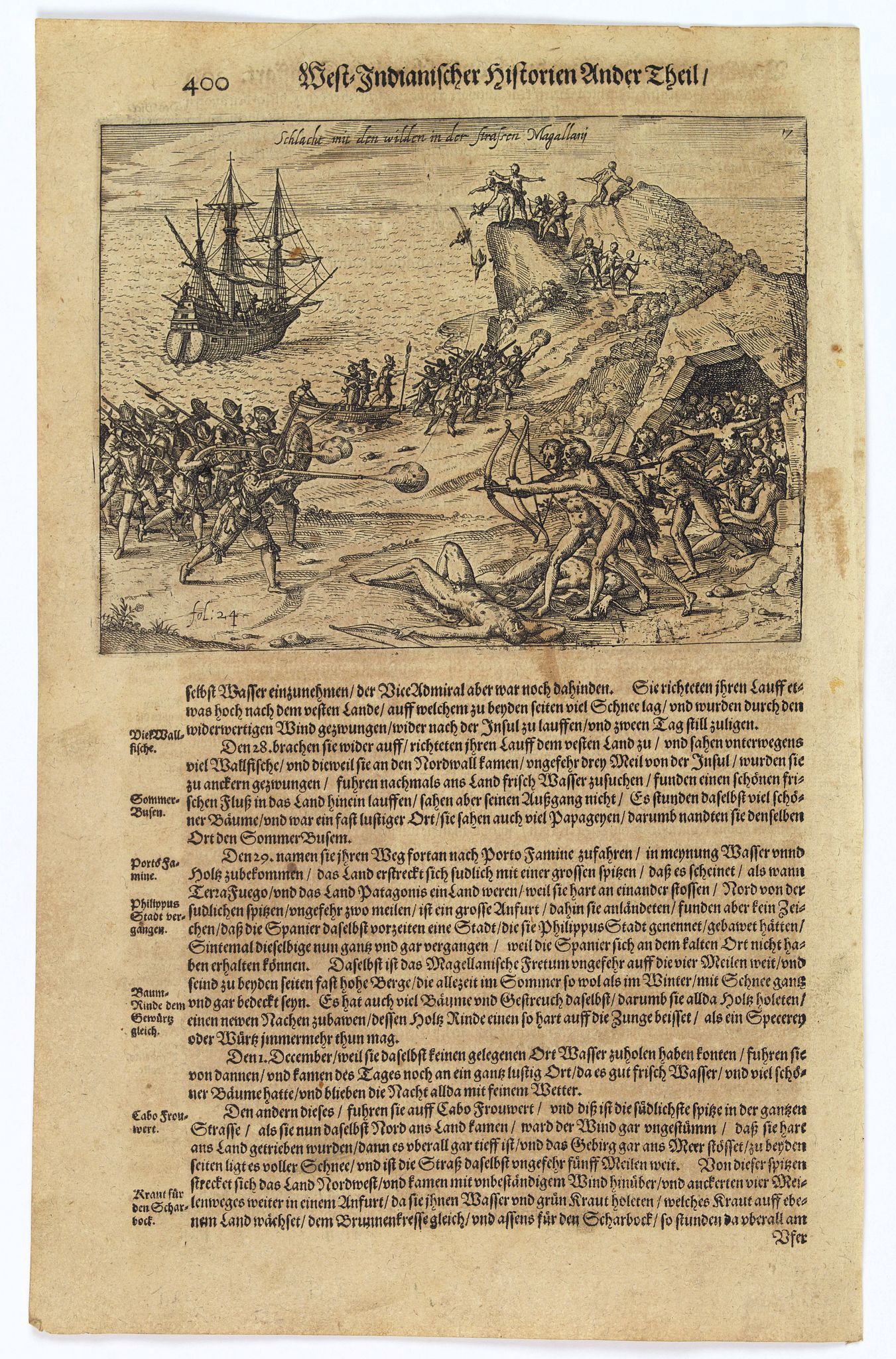 GOTTFRIED, J.L. / DE BRY.,  [Dutch fight with the local Indians in the Magellan Strait.], antique map, old maps
