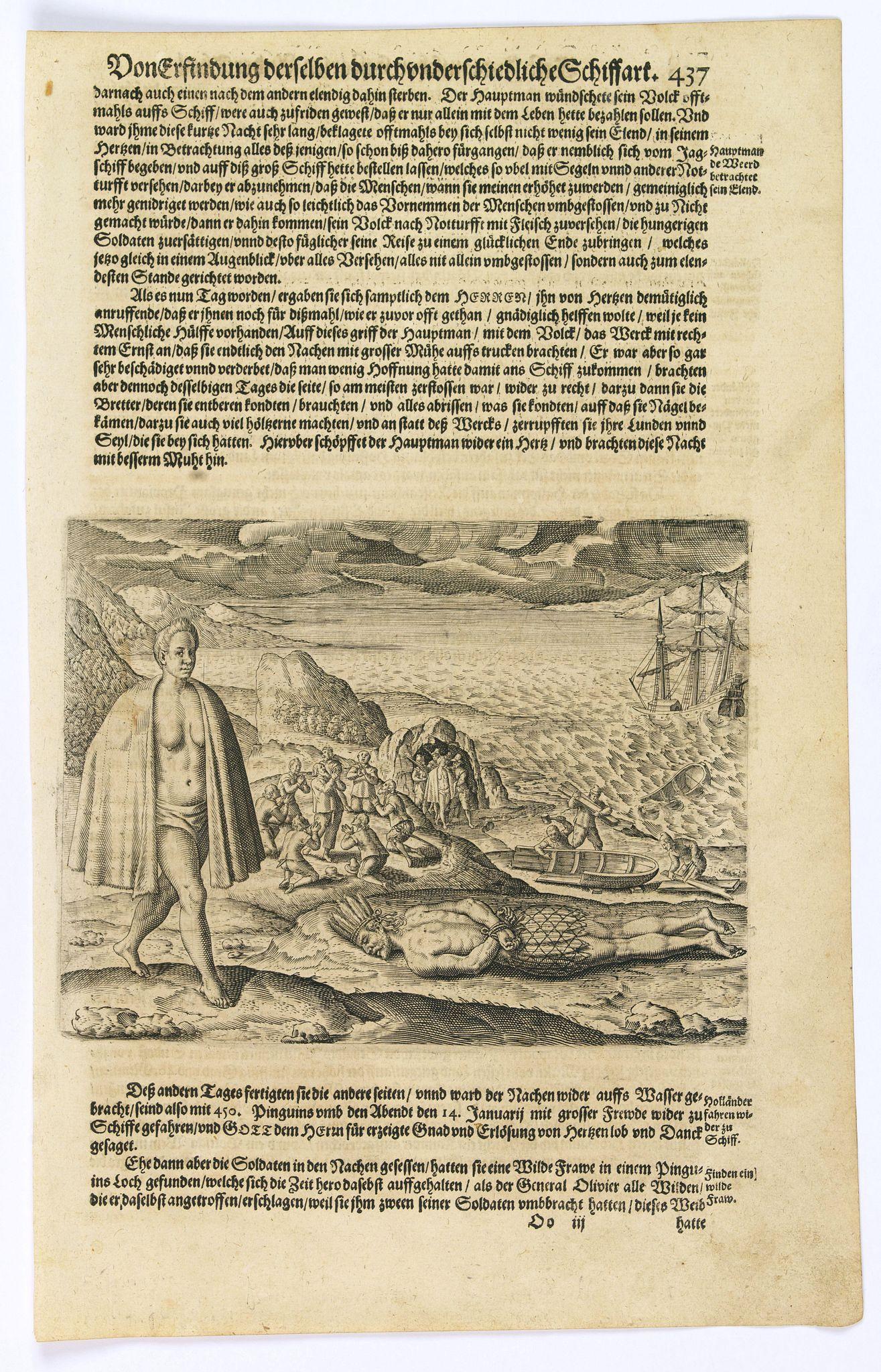GOTTFRIED, J.L. / DE BRY. -  [Dutch become stranded in the Magallen Strait.]