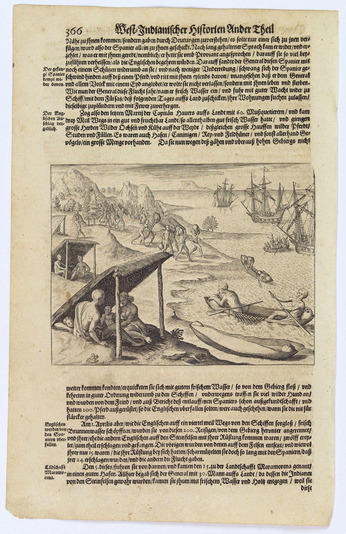 GOTTFRIED, J.L. / DE BRY. -  [Cavendish reaches Morro Moreno.]