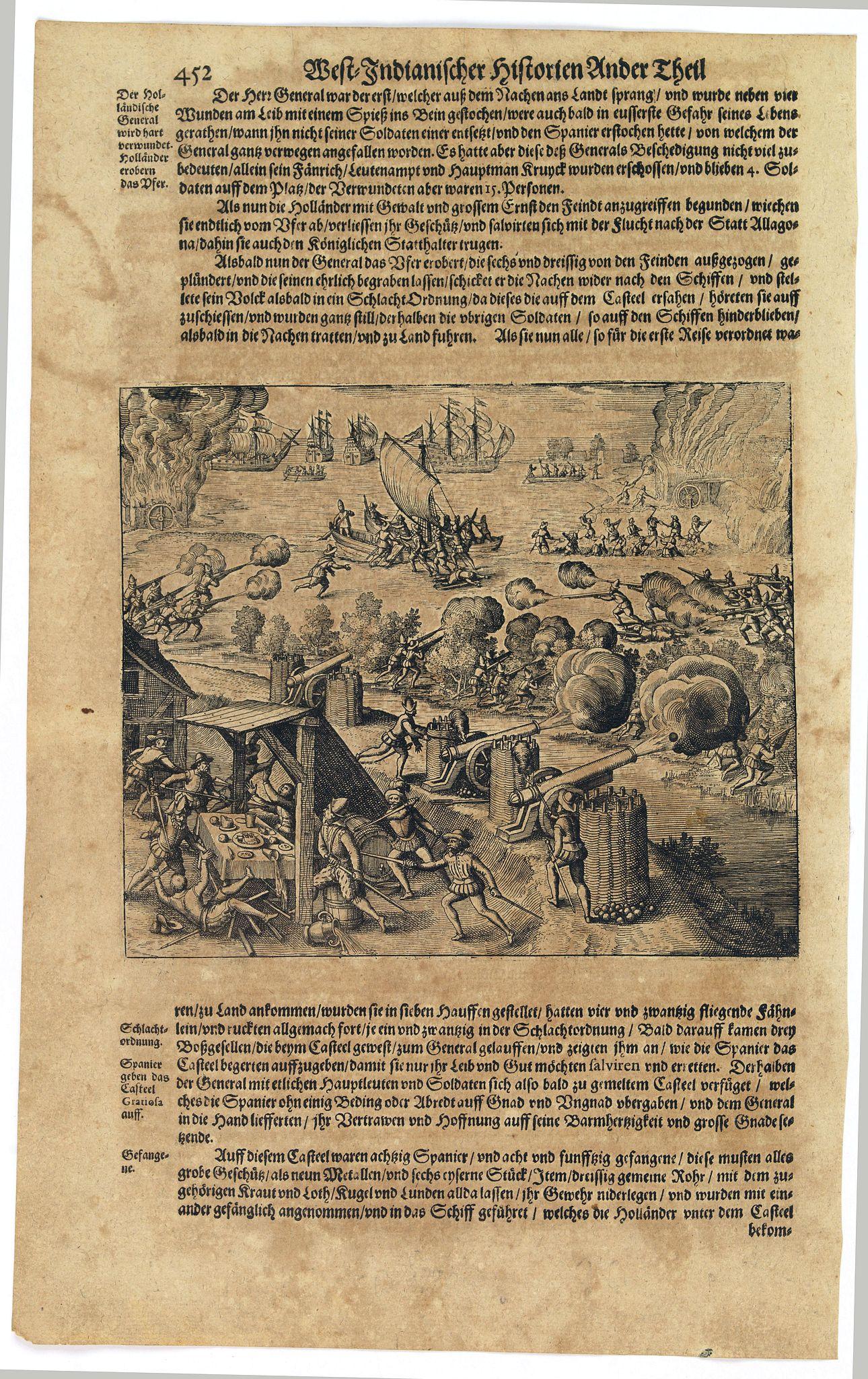 GOTTFRIED, J.L. / DE BRY. -  [Dutch fleet attacking Spanish fortess of Gratiosa on Gran Canaria].