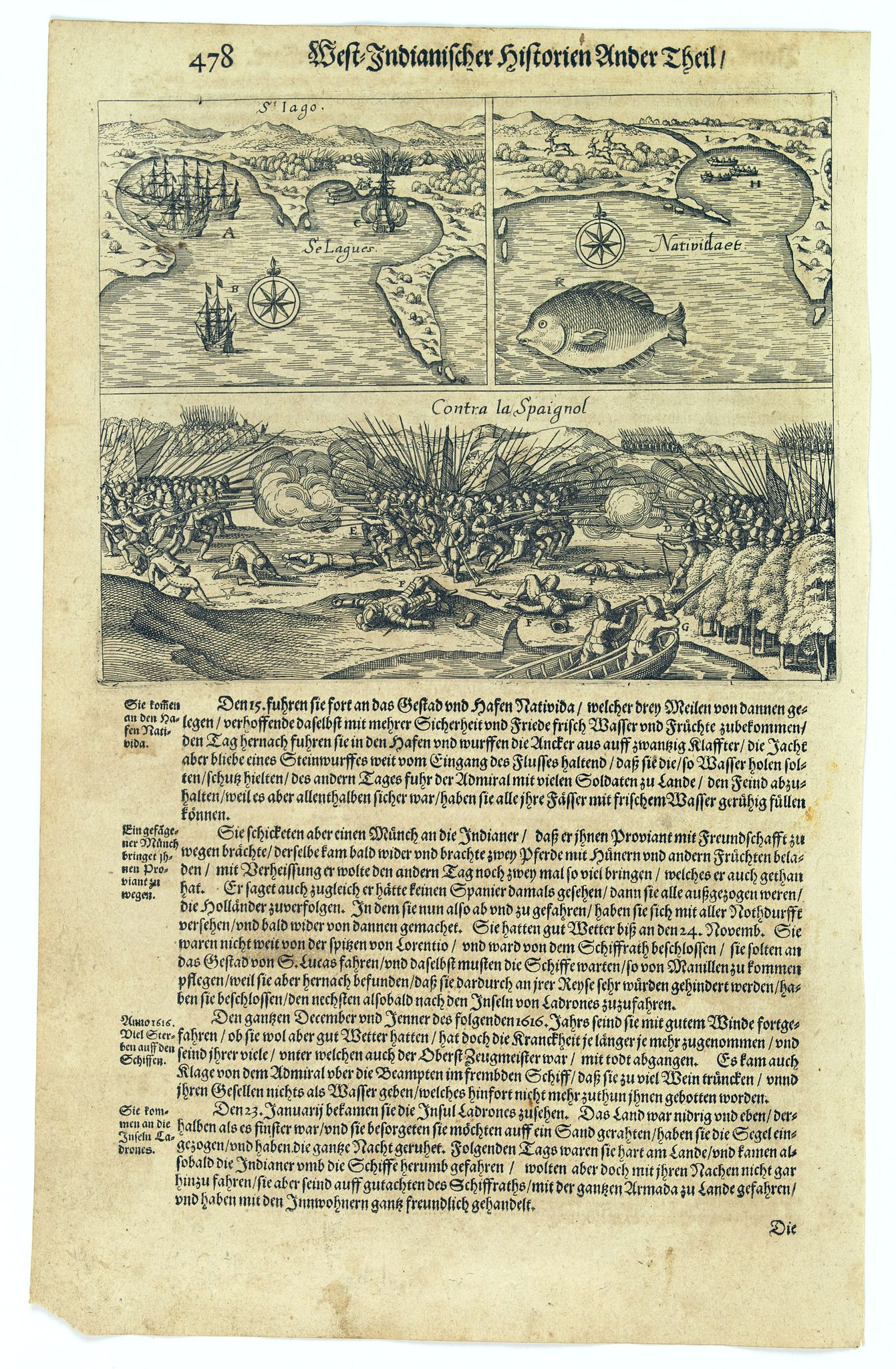 GOTTFRIED, J.L. / DE BRY. -  [Spilbergen's fleet lands near Manzanillo].
