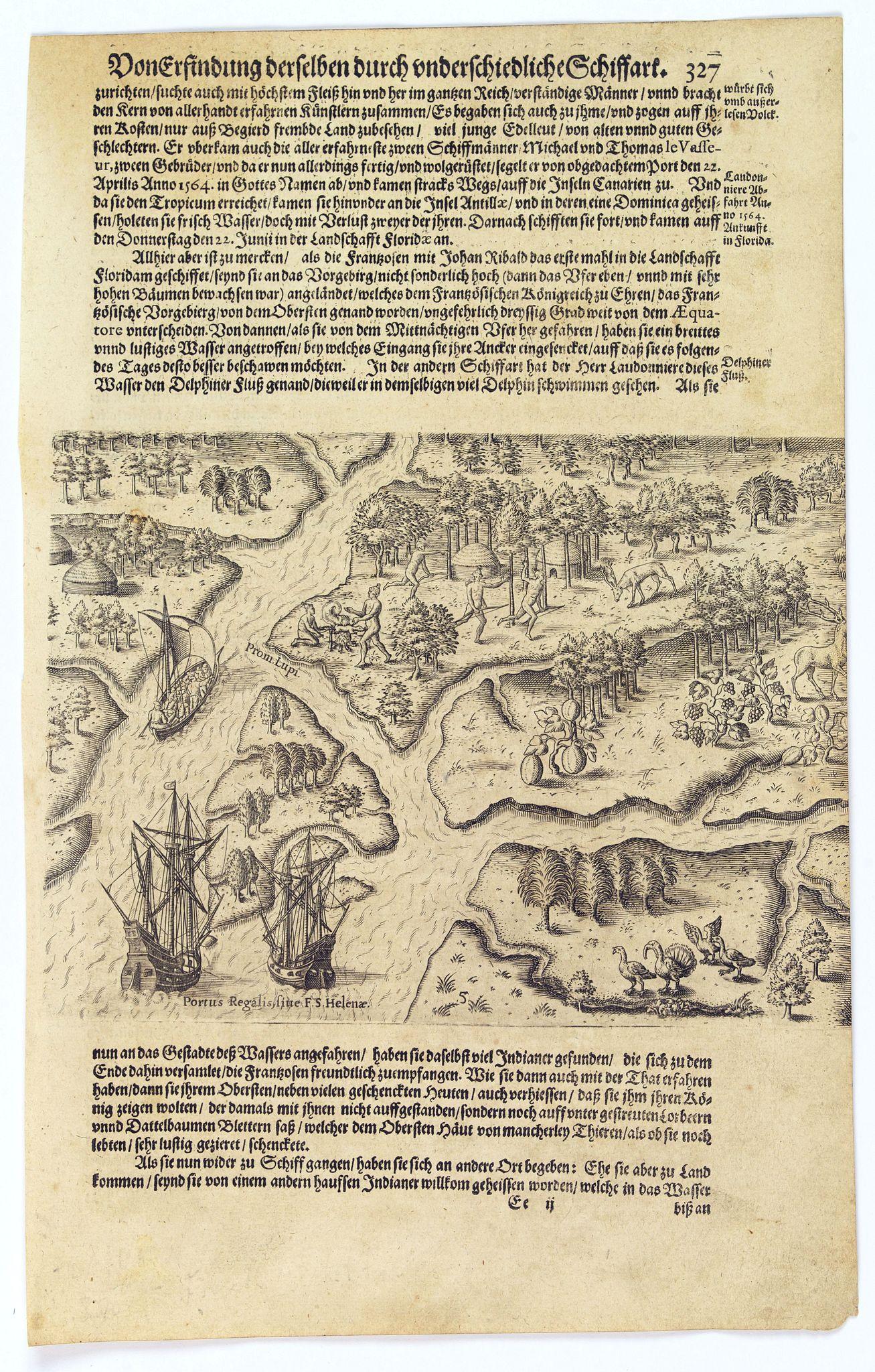 GOTTFRIED, J.L. / DE BRY. -  [The French reach Port Royal].