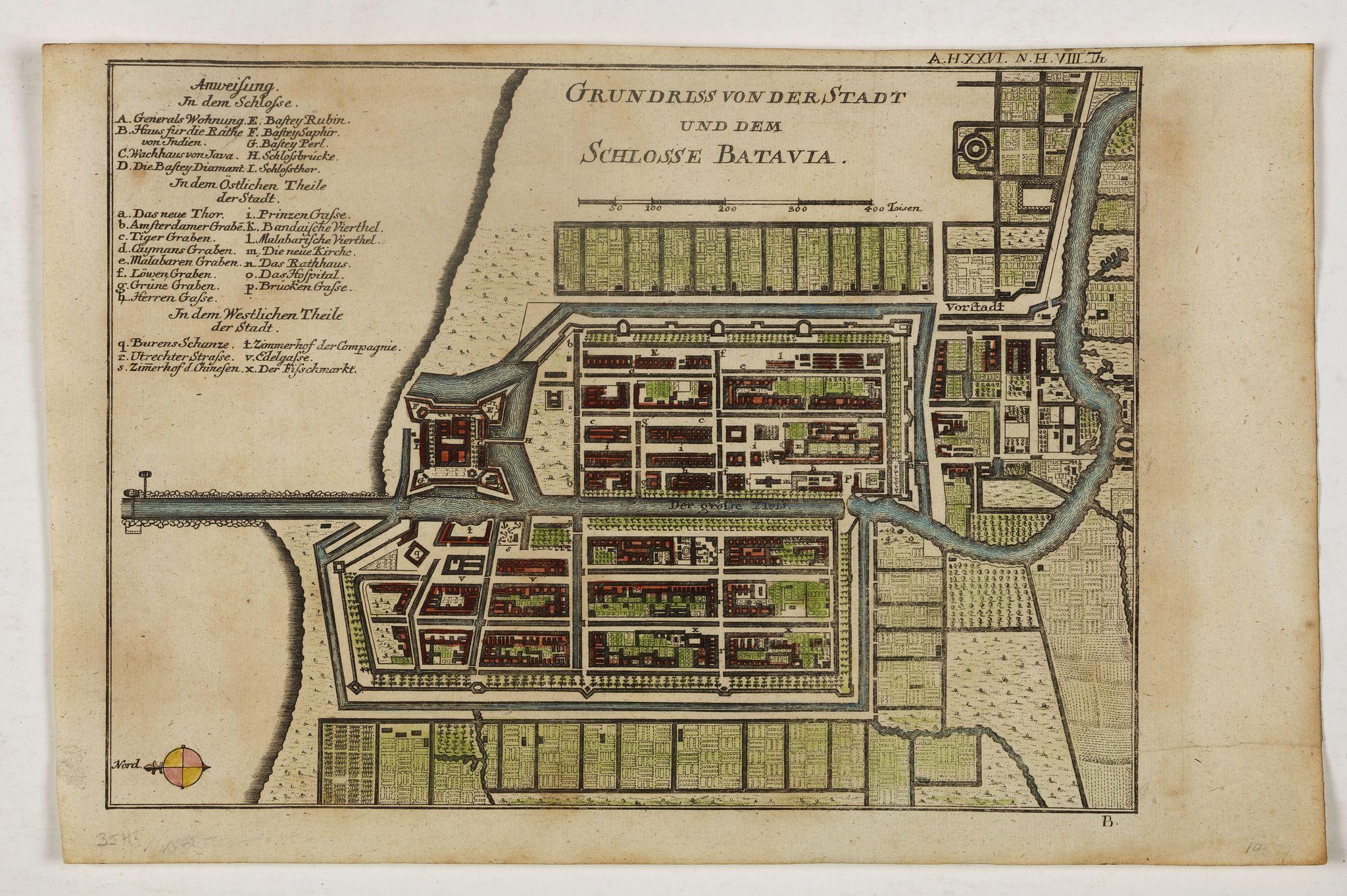 BAUMGARTEN, S.J. SEMLER, J.S. -  Grundriss von der Stadt und dem Schlosse Batavia.