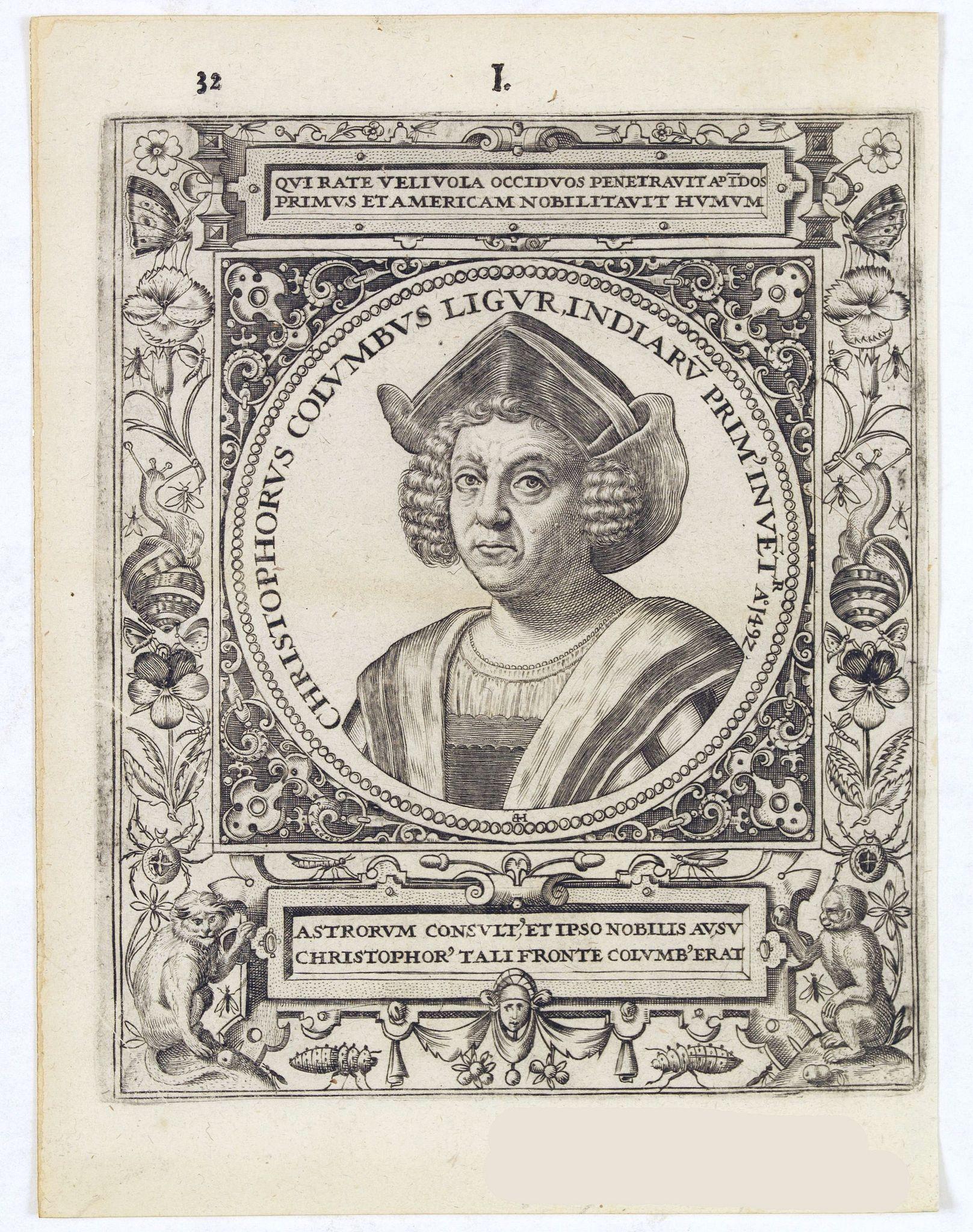 DE BRY, Th. -  Christophorus Columus Ligur Indiarum  Prim invet A°1492