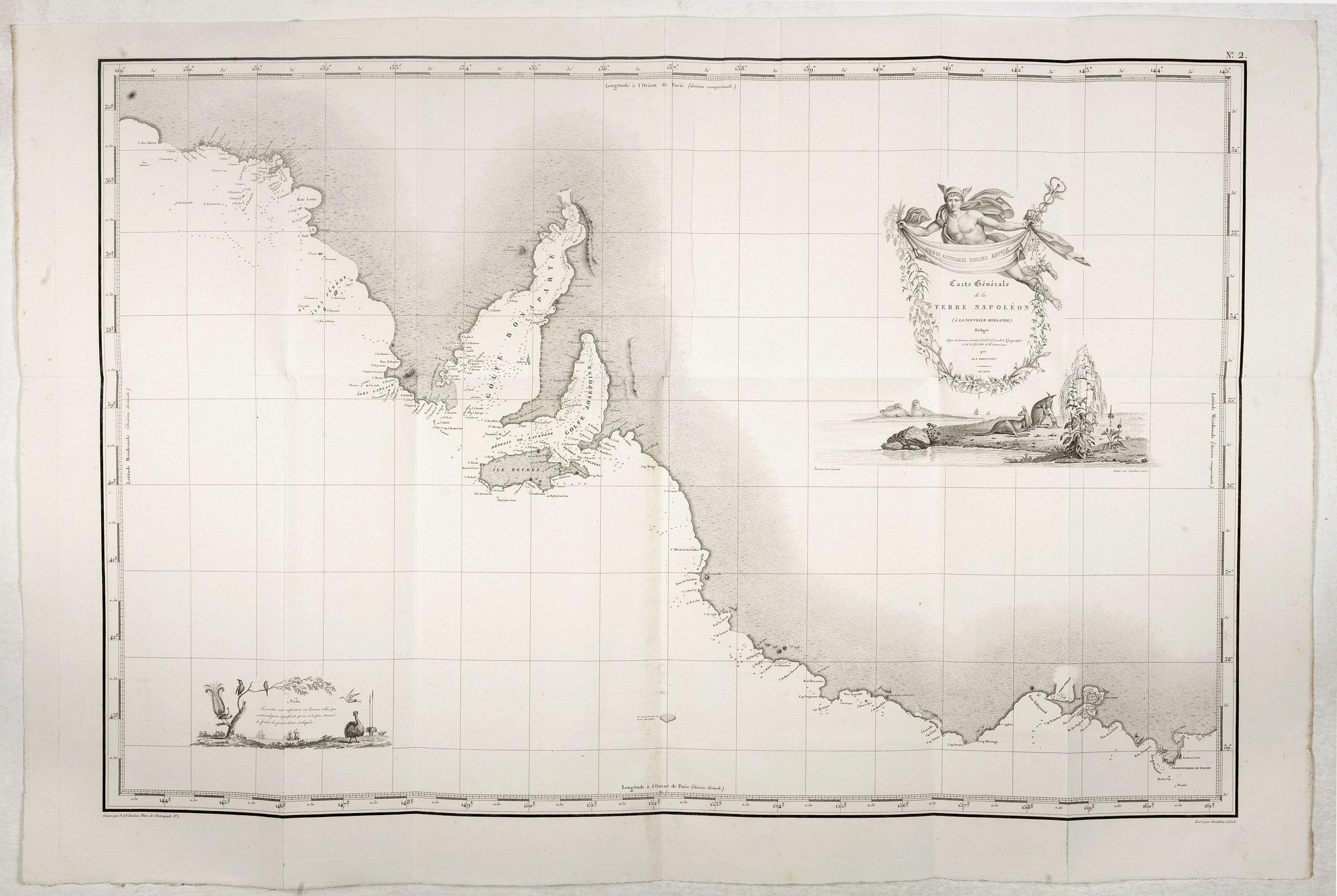 FREYCINET, M.L. -  Carte Generale de la Terre Napoleon (à la Nouvelle Hollande)... par M.L. Freycinet an 1808.