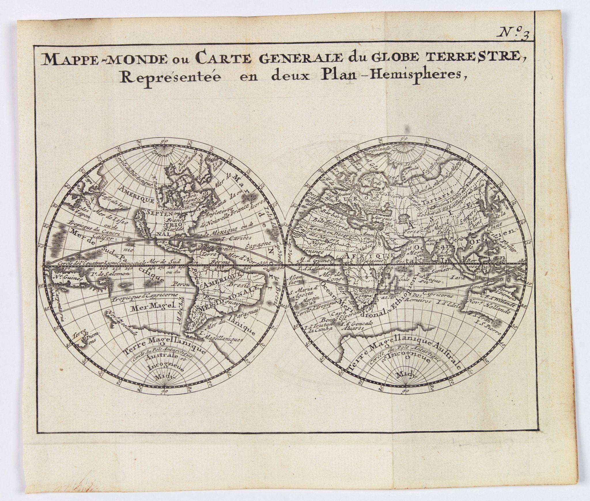 BOSSUET, Jacques Benigne. - Mappe-Monde ou Carte Generale du Globe Terrestre, Representee en deux Plan-Hemispheres.