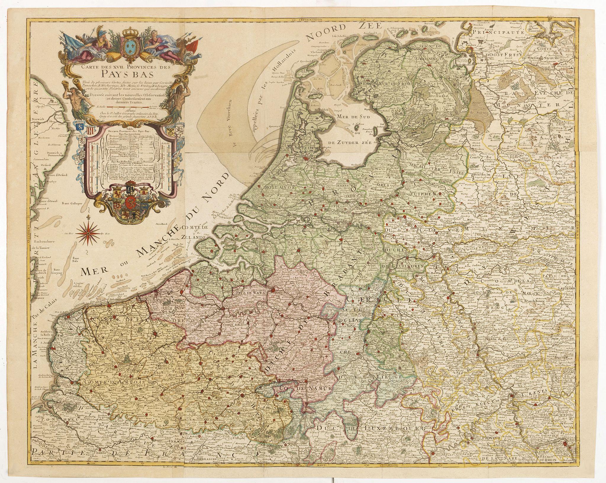 JAILLOT, H. -  Carte des XVII provinces des Pays-Bas . . .