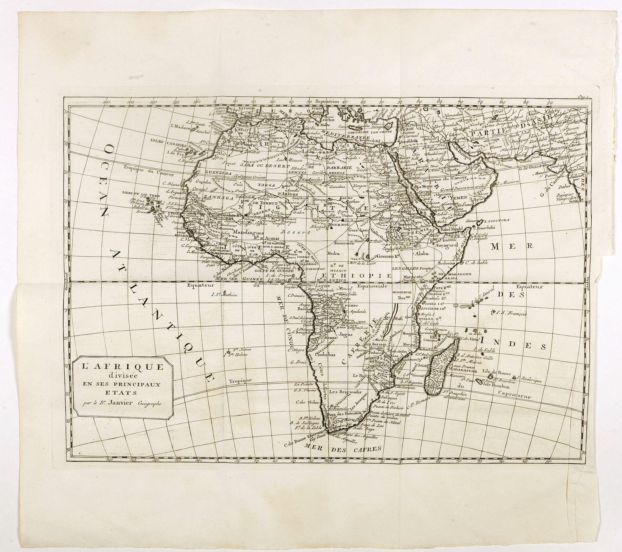 BELLIN, J.N. / ARKSTEE / MERKUS -  L'Afrique divisée en ses principaux etats par le  Sr. Janvier Geographe.