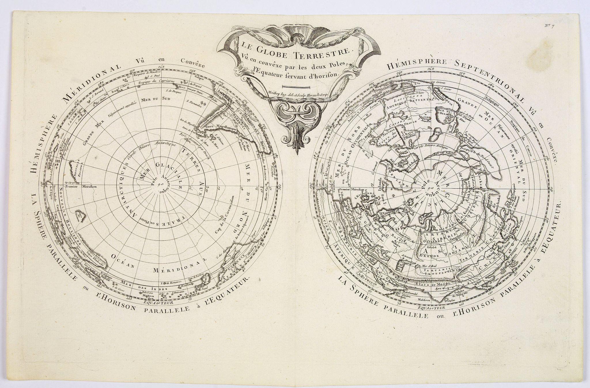 MOITHEY, M.A. - Le Globe Terrestre vu en convexe par les deux Poles, l'Equateur servant d'horison.