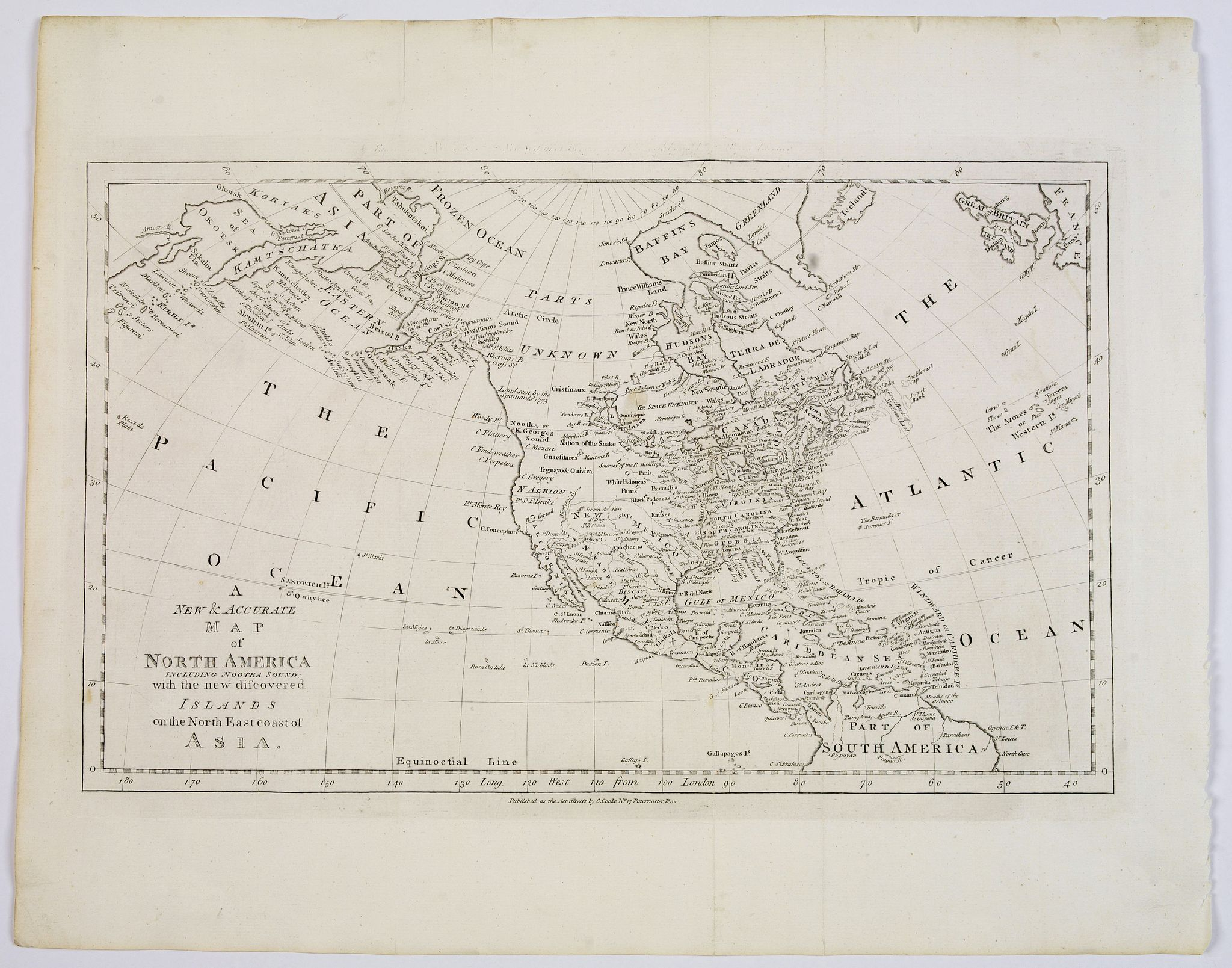 BOWEN, T. - A New and Accurate Map of North America, including Nootka Sound with the new discovered Islands on the north east coast of Asia.