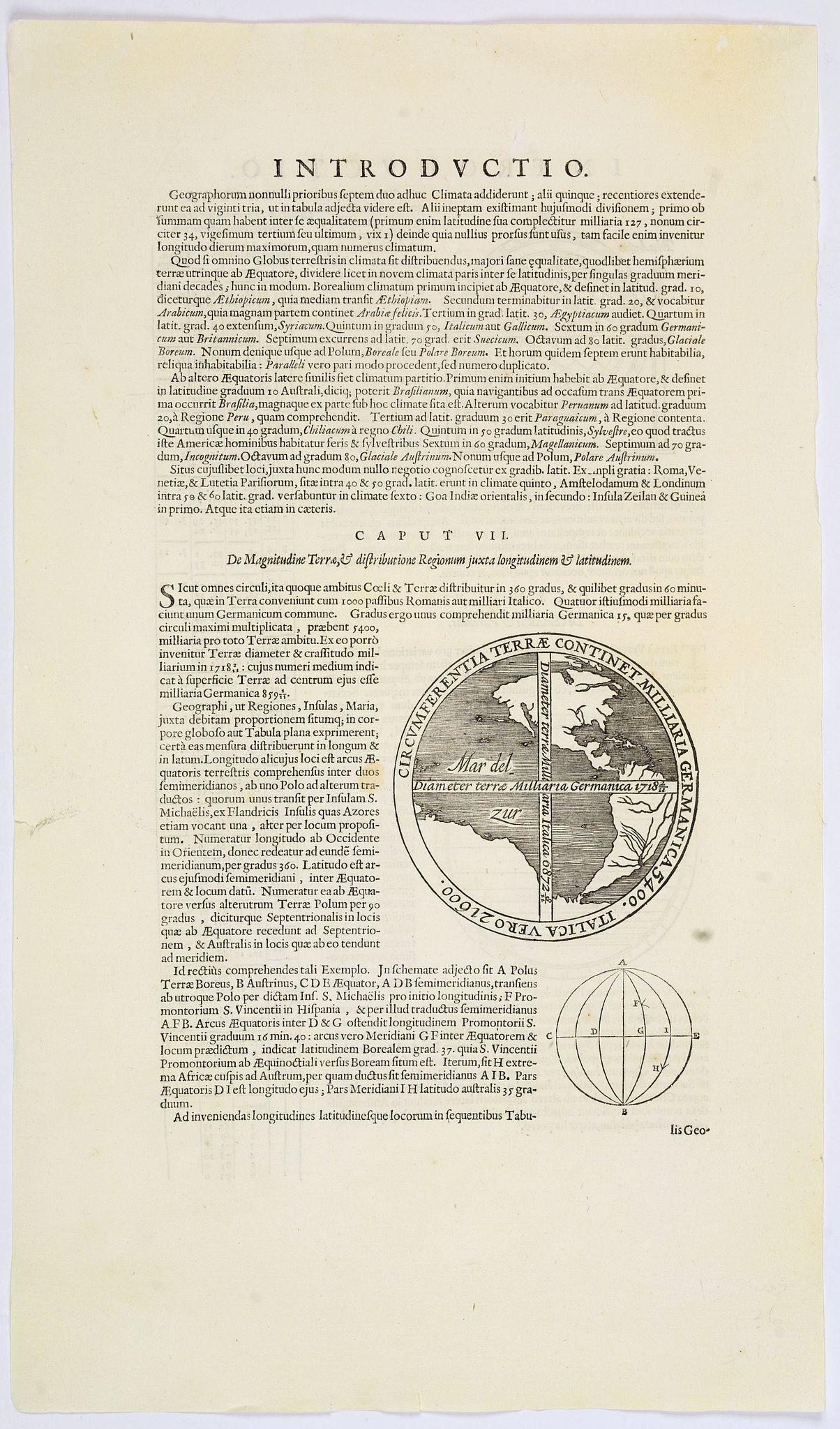 JANSSONIUS, J.  / HONDIUS, H. - Circumferentia terrae continet miliaria germanica 5400, italica vero 21600.