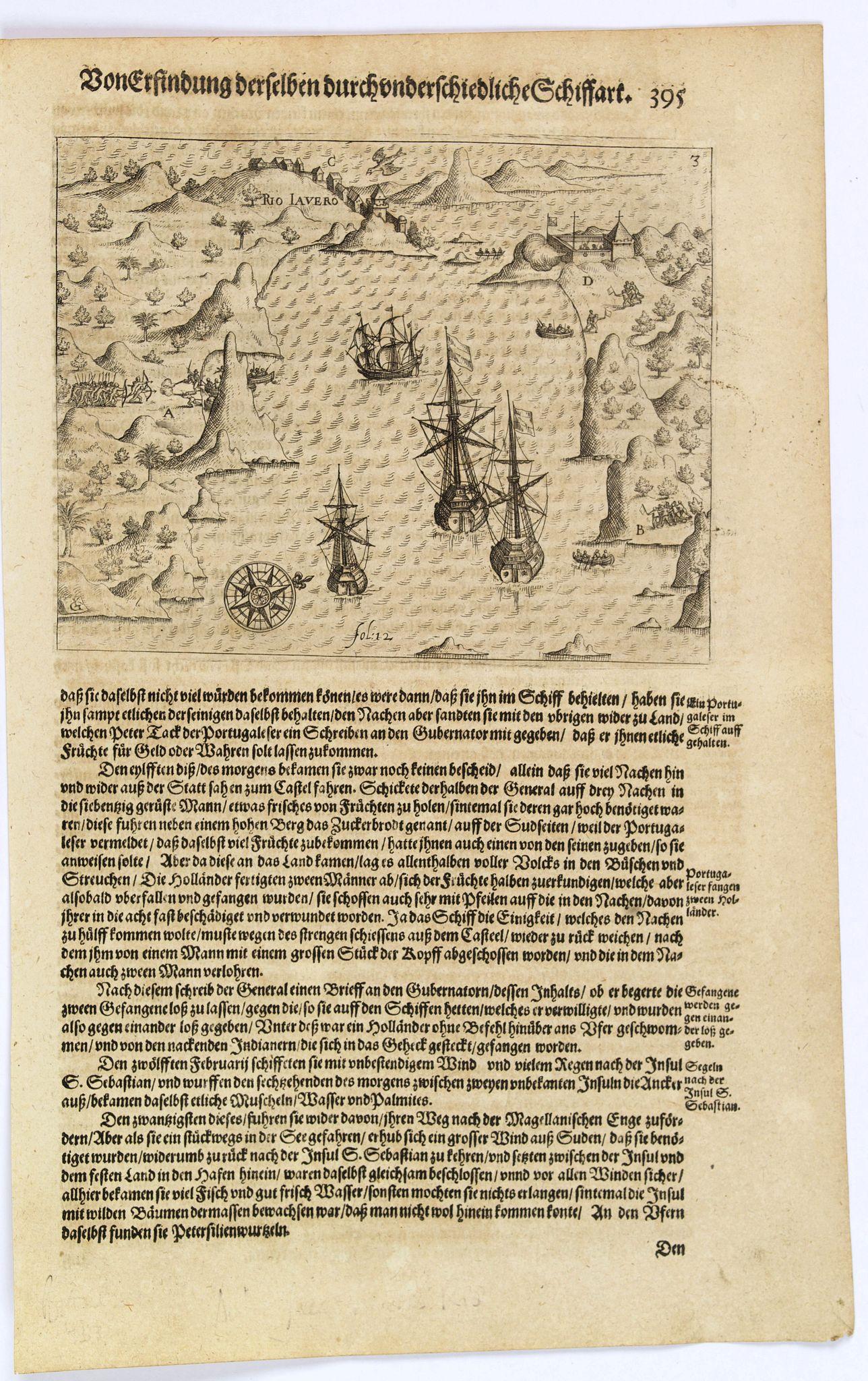 GOTTFRIED, J.L. / DE BRY. -  [Dutch fleet reaches Rio de Janeiro.]
